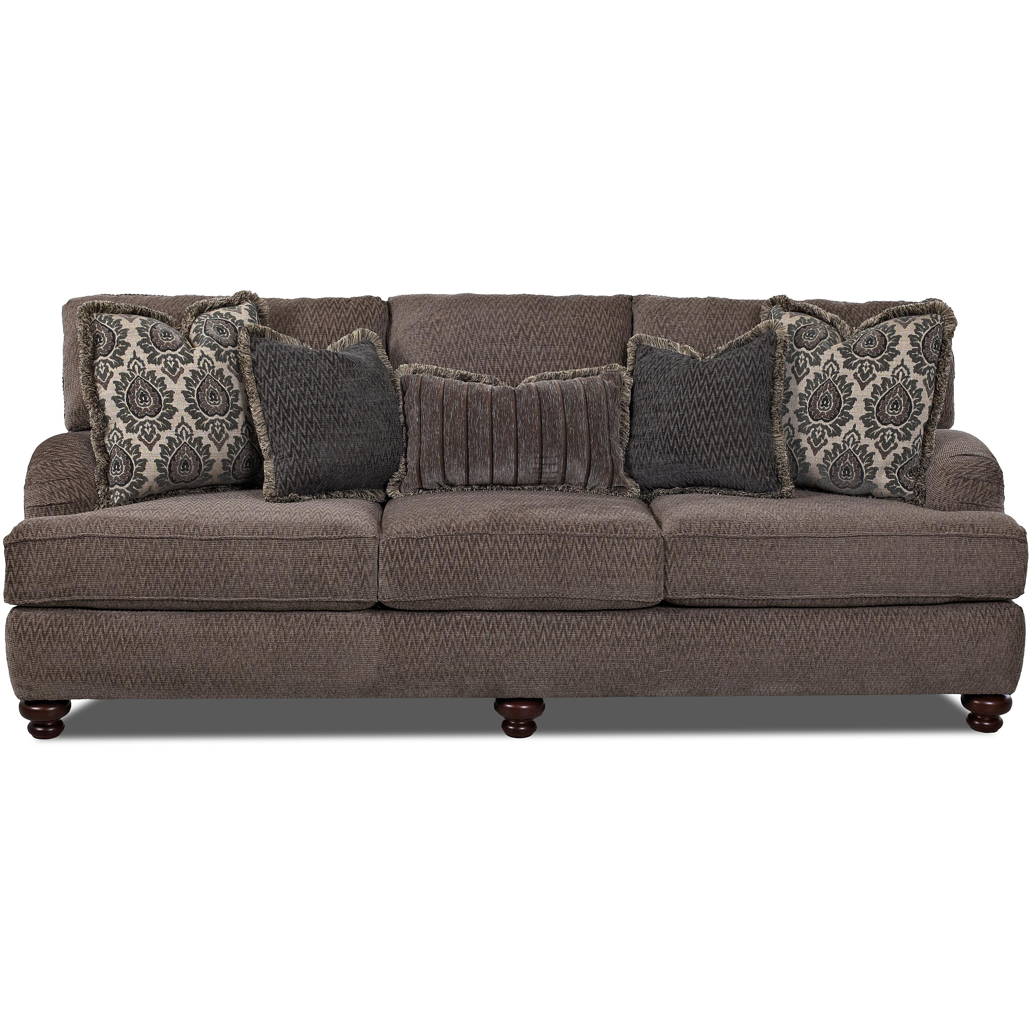 Traditional Sofa With Turned Feet By Klaussner Wolf And