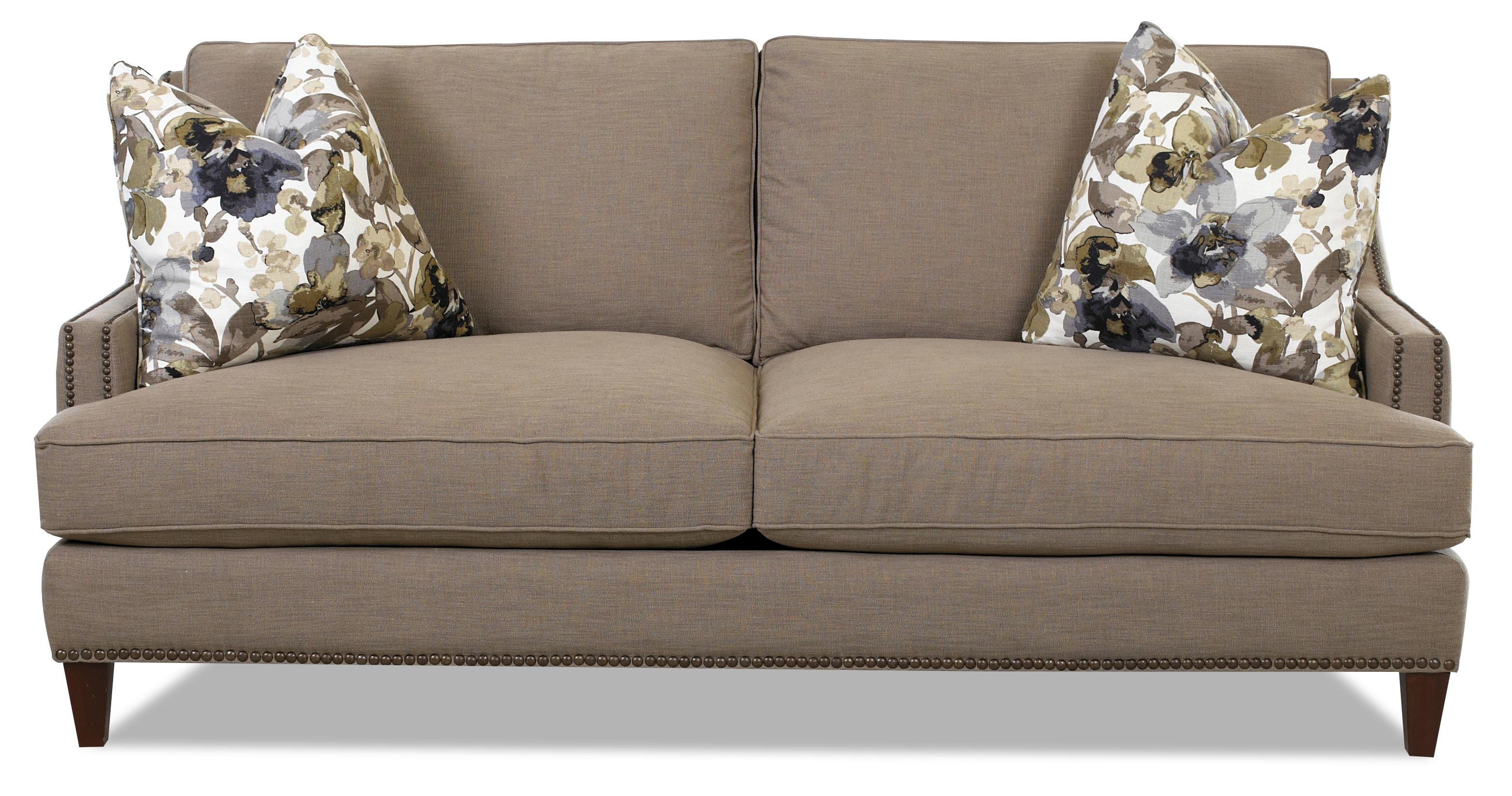 transitional nail head wing back loveseat with blend down cushions  - transitional nail head wing back loveseat with blend down cushions