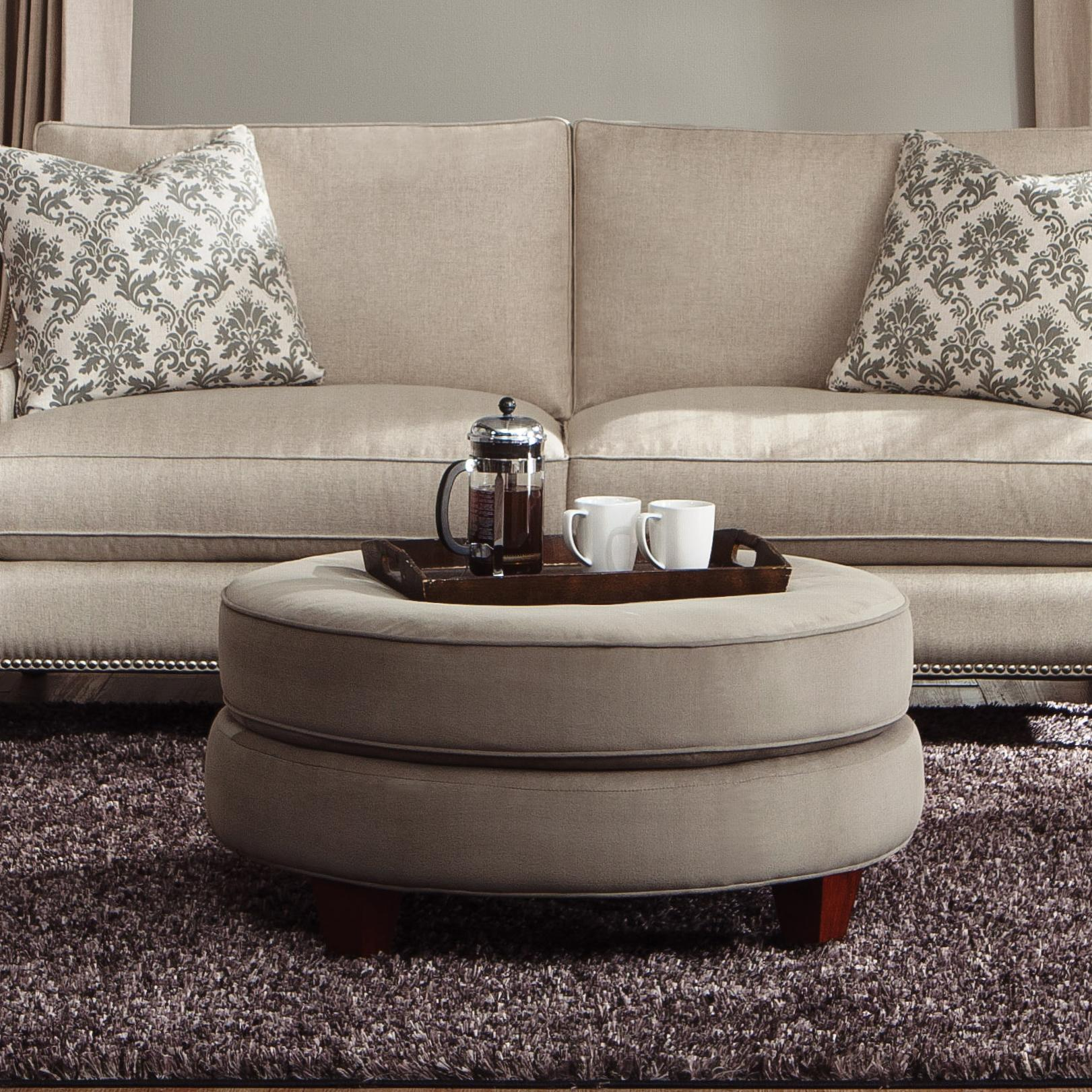 Transitional Double Disc Stacked Cushion Ottoman
