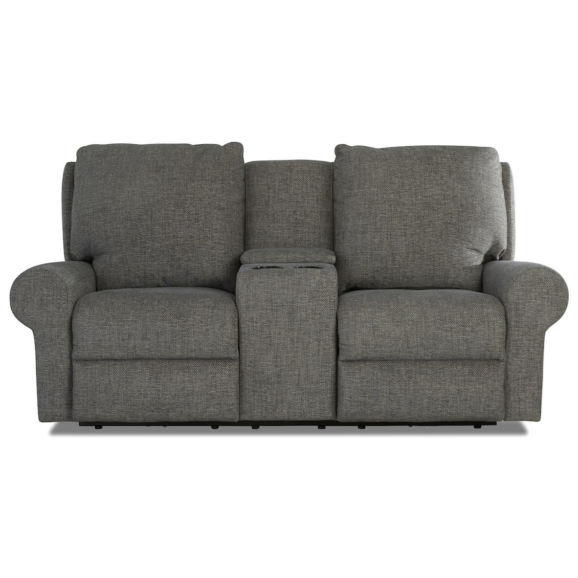 Casual Tailored Console Reclining Loveseat with Kool Gel Cushions