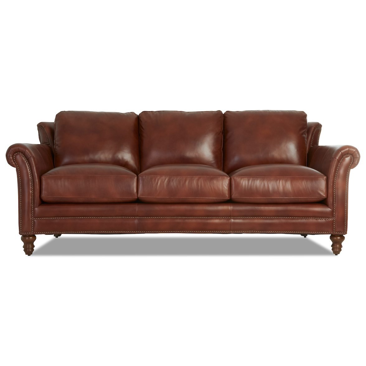 Traditional Leather Wing Back Sofa with Nailhead Trim