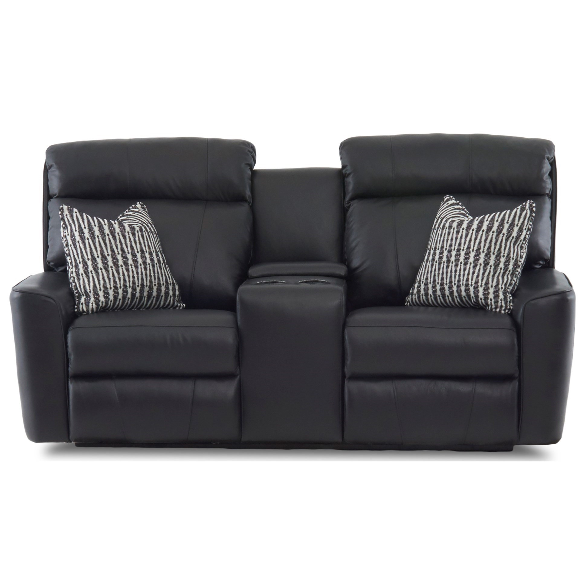 Casual Power Reclining Console Loveseat with Pillows and Power Headrests