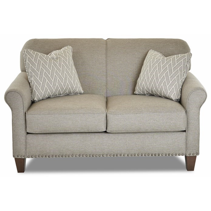 Transitional Customizable Loveseat with Thin Rolled Arms