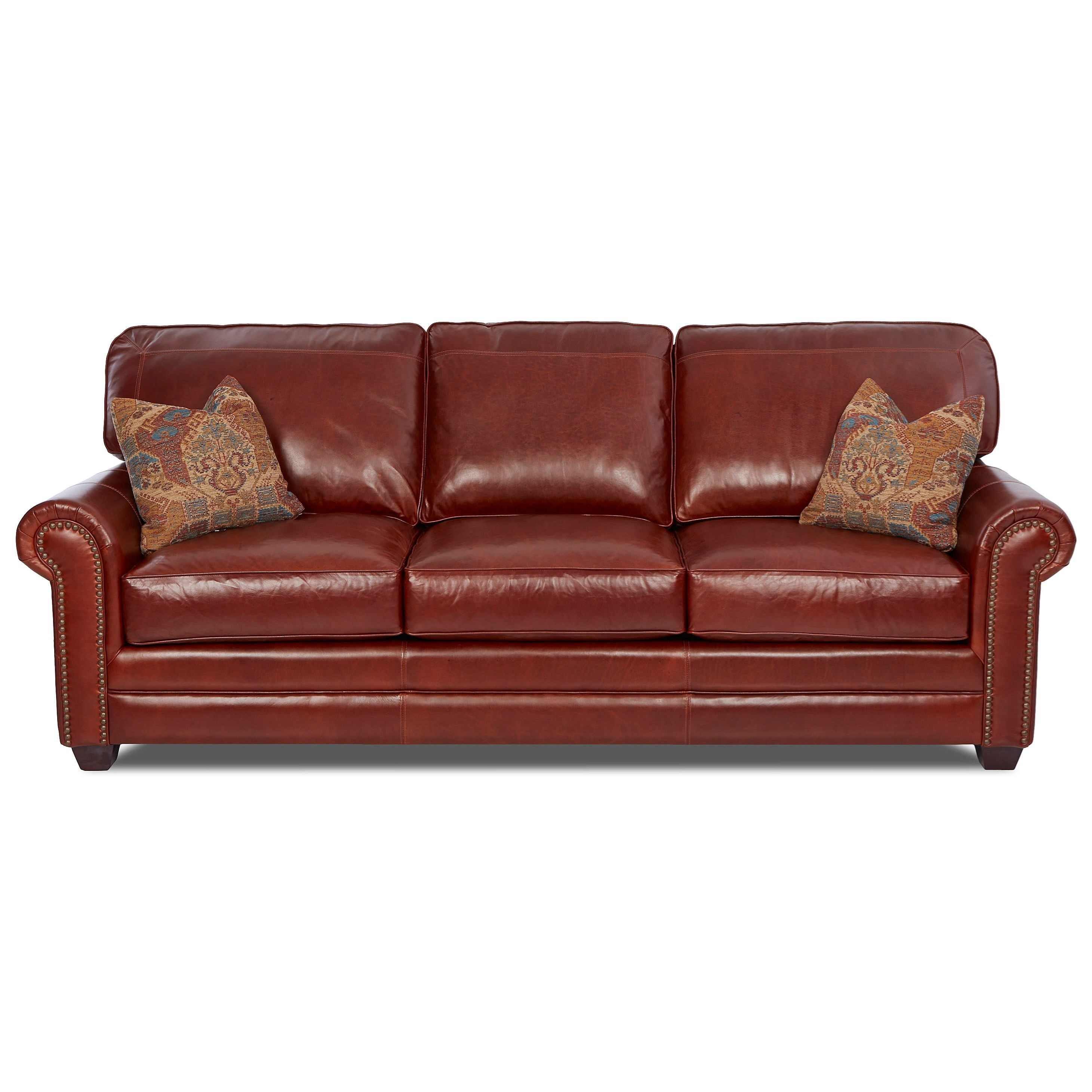Transitional Leather Sofa  with Nailheads & Pillows