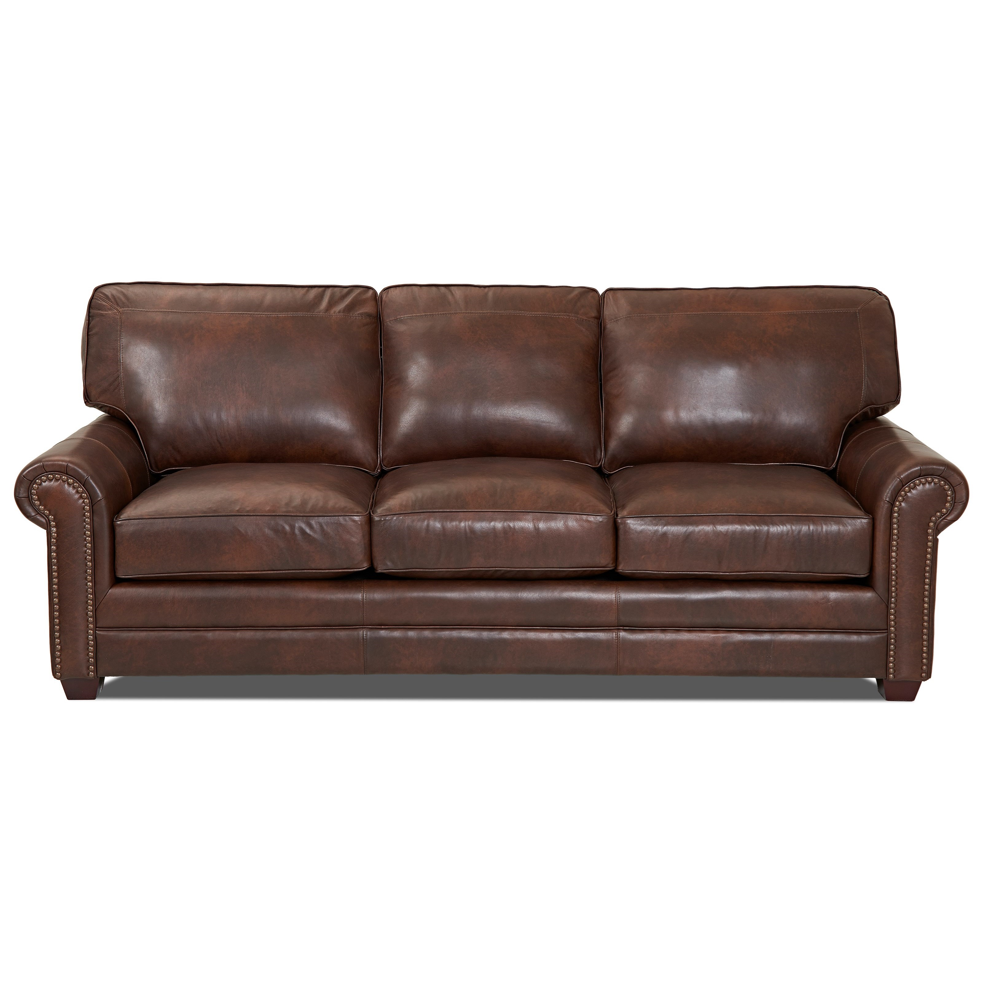 Transitional Leather Sofa with Nailheads
