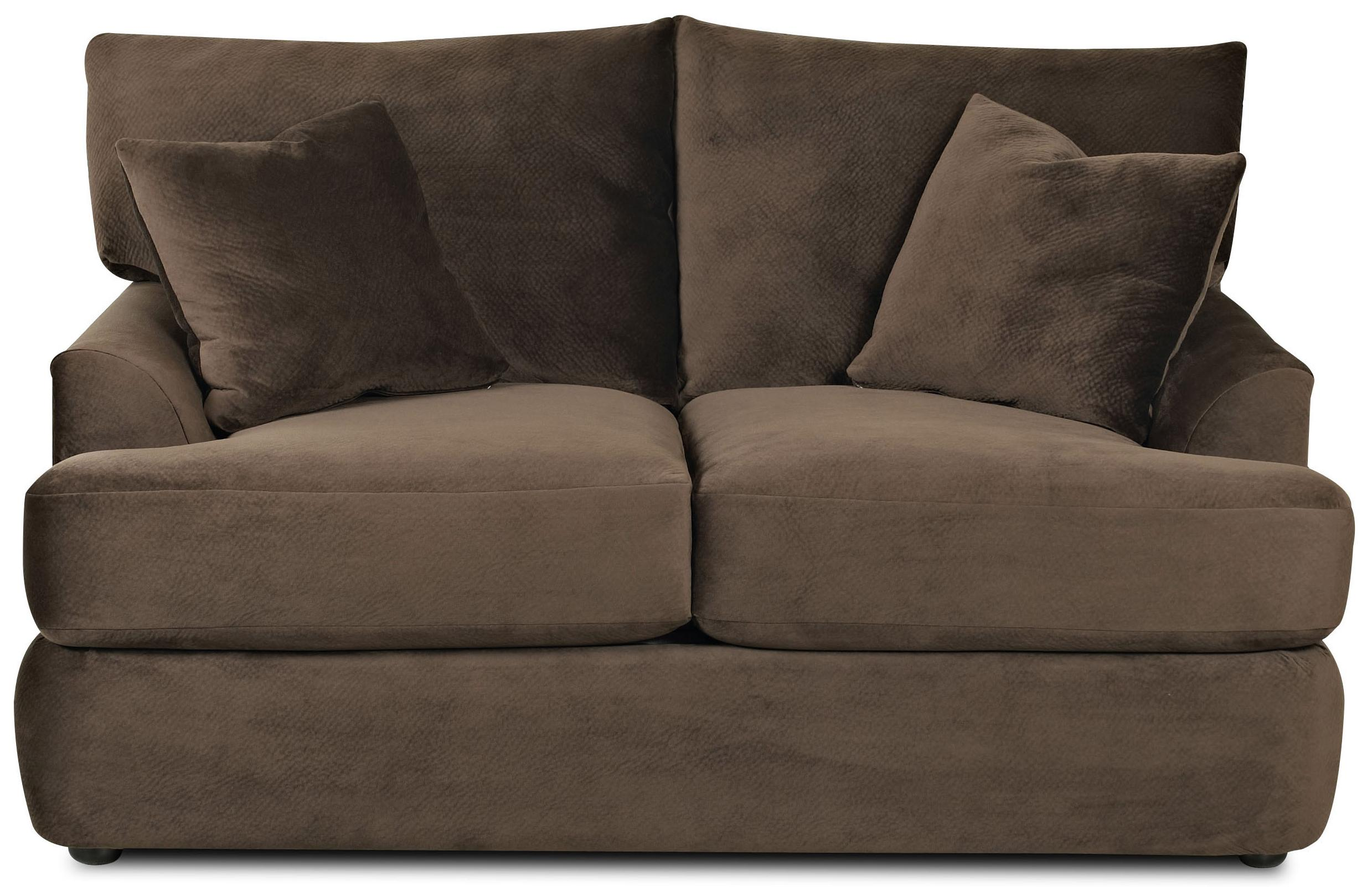 contemporary loveseat with rounded track arms by klaussner  wolf  - contemporary loveseat with rounded track arms