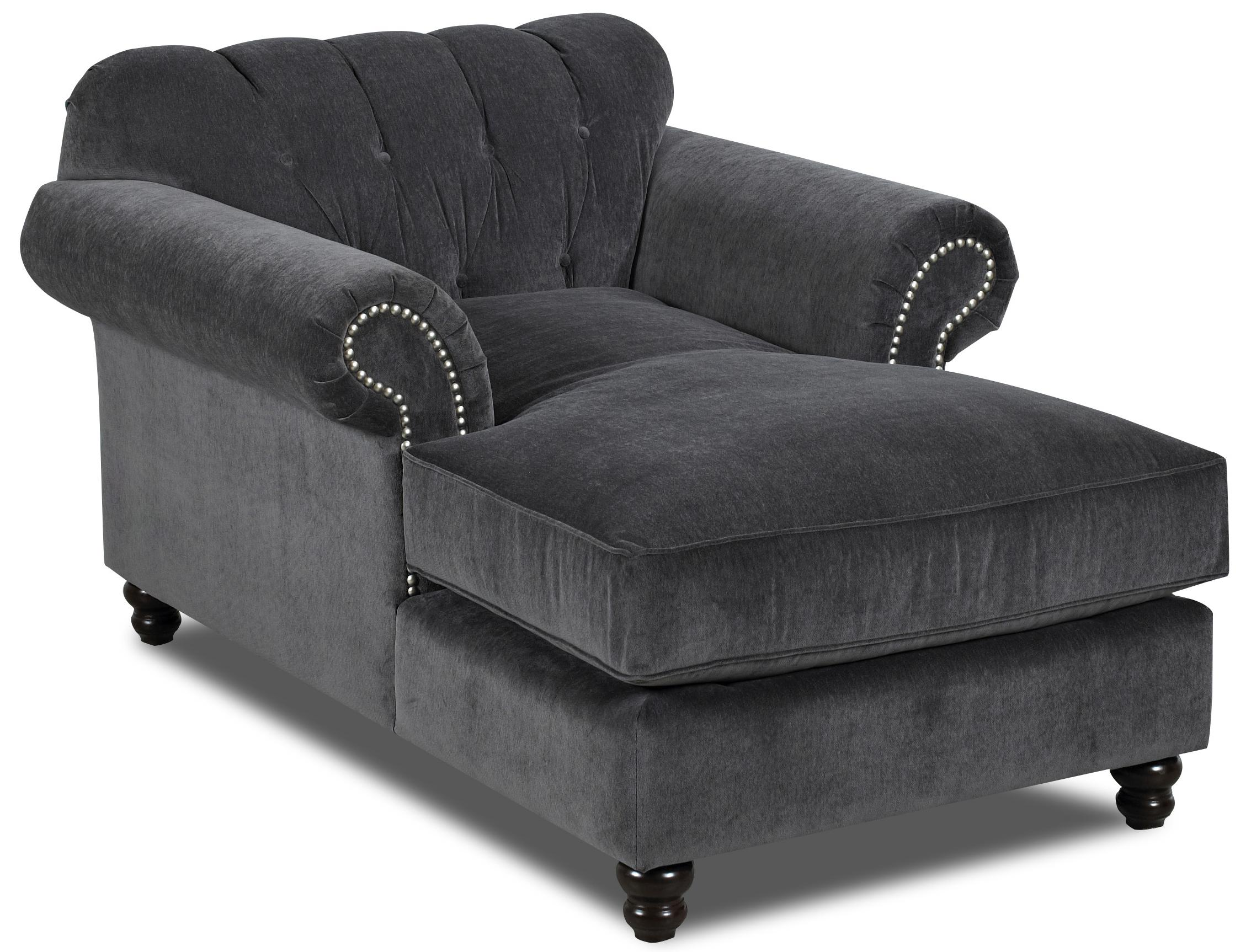 Traditional Chaise with Button Tufted Back and Rolled Arms