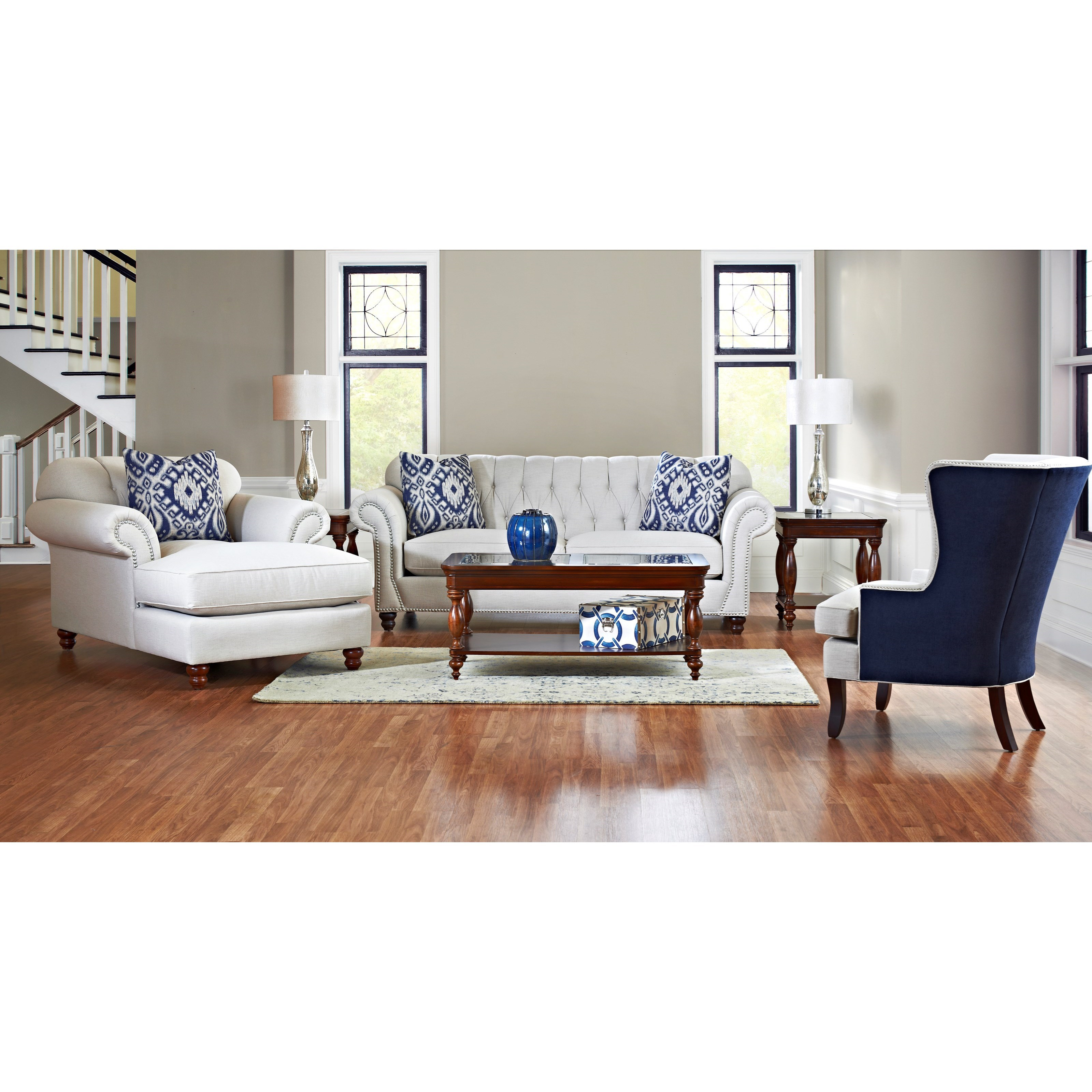 Traditional Sofa with Button Tufted Back and Rolled Arms by