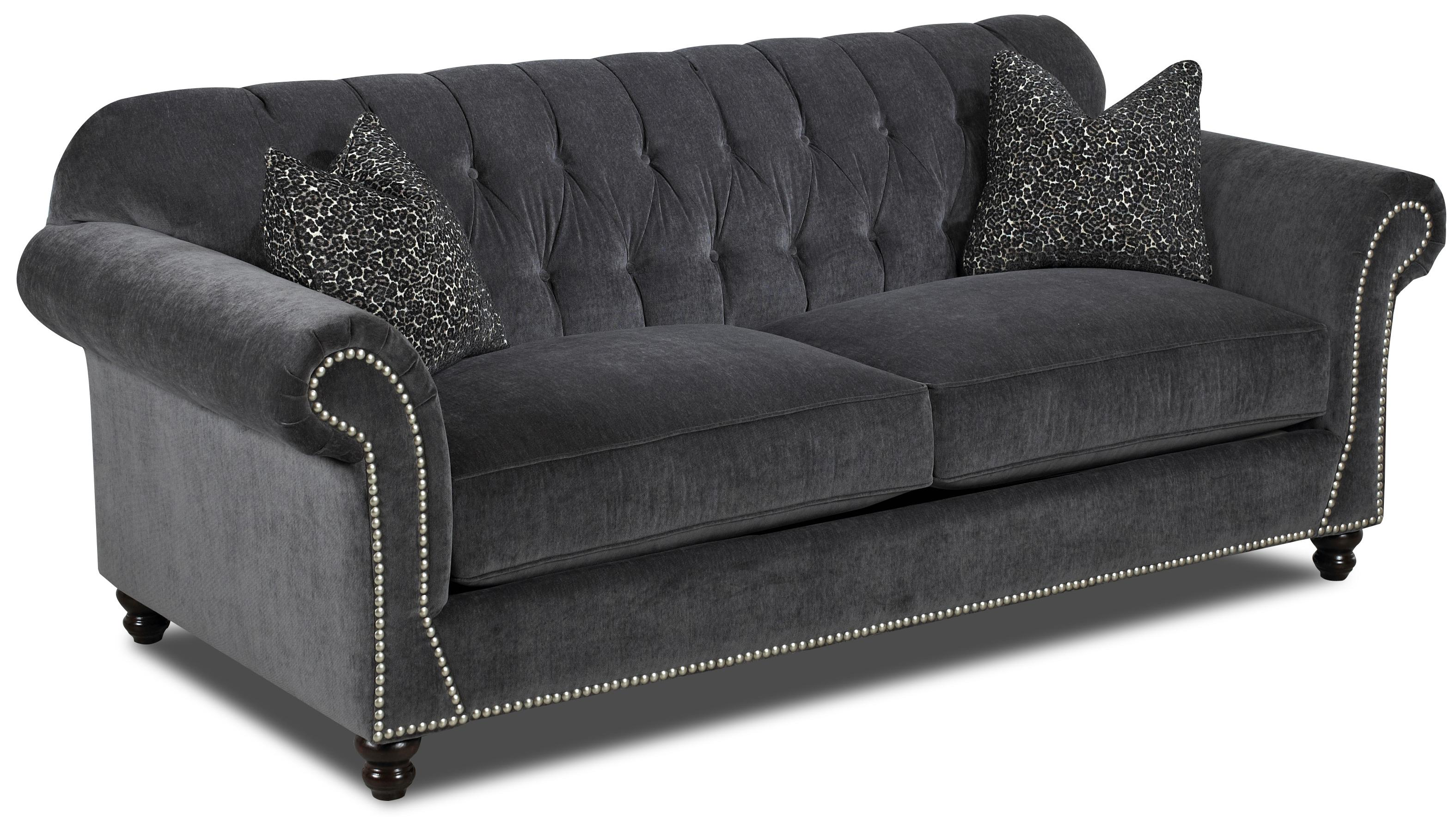 Traditional Sofa With Button Tufted Back Rolled Arms And Throw Pillows By Klaussner Wolf And