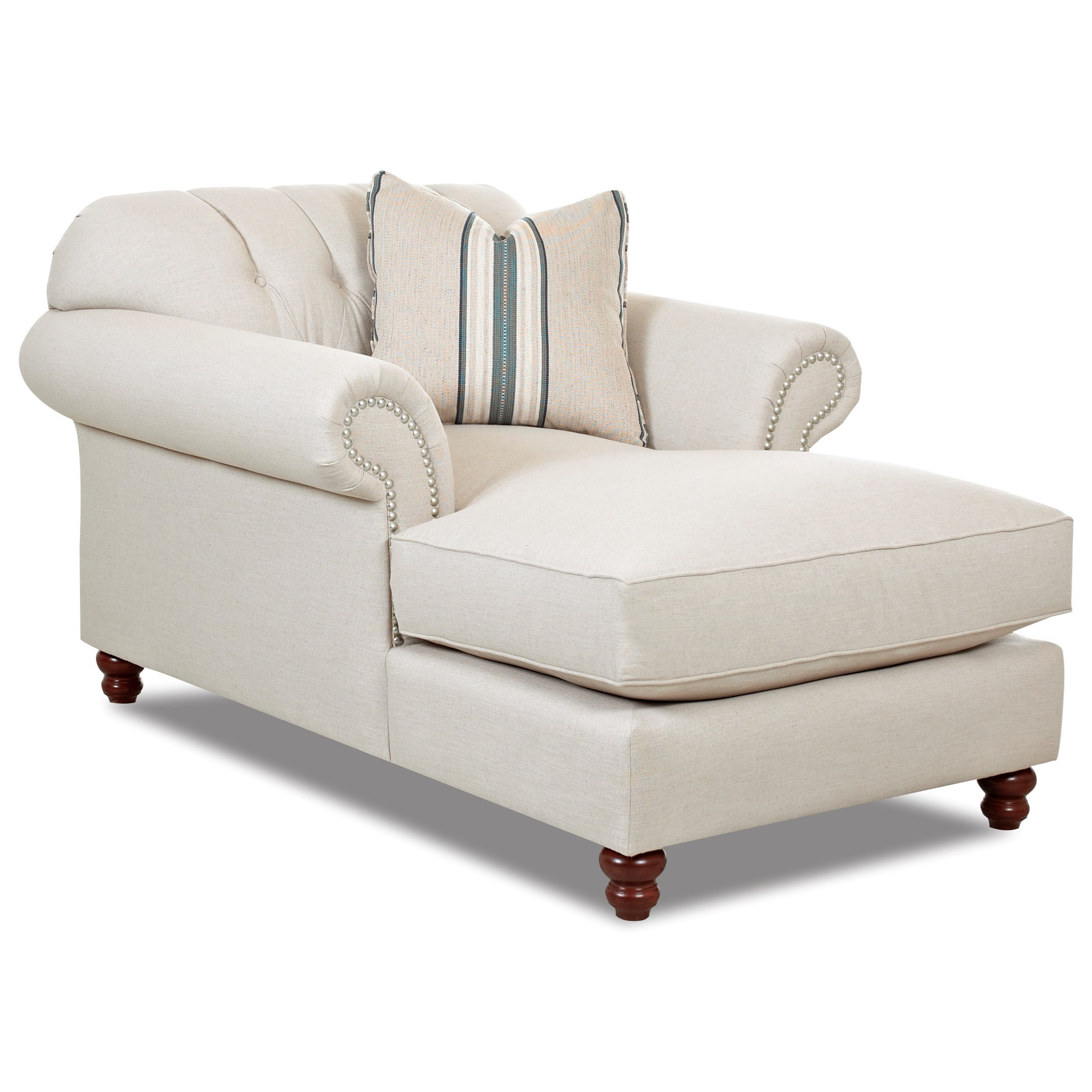 Traditional Chaise with Button Tufted Back, Rolled Arms and Throw Pillow