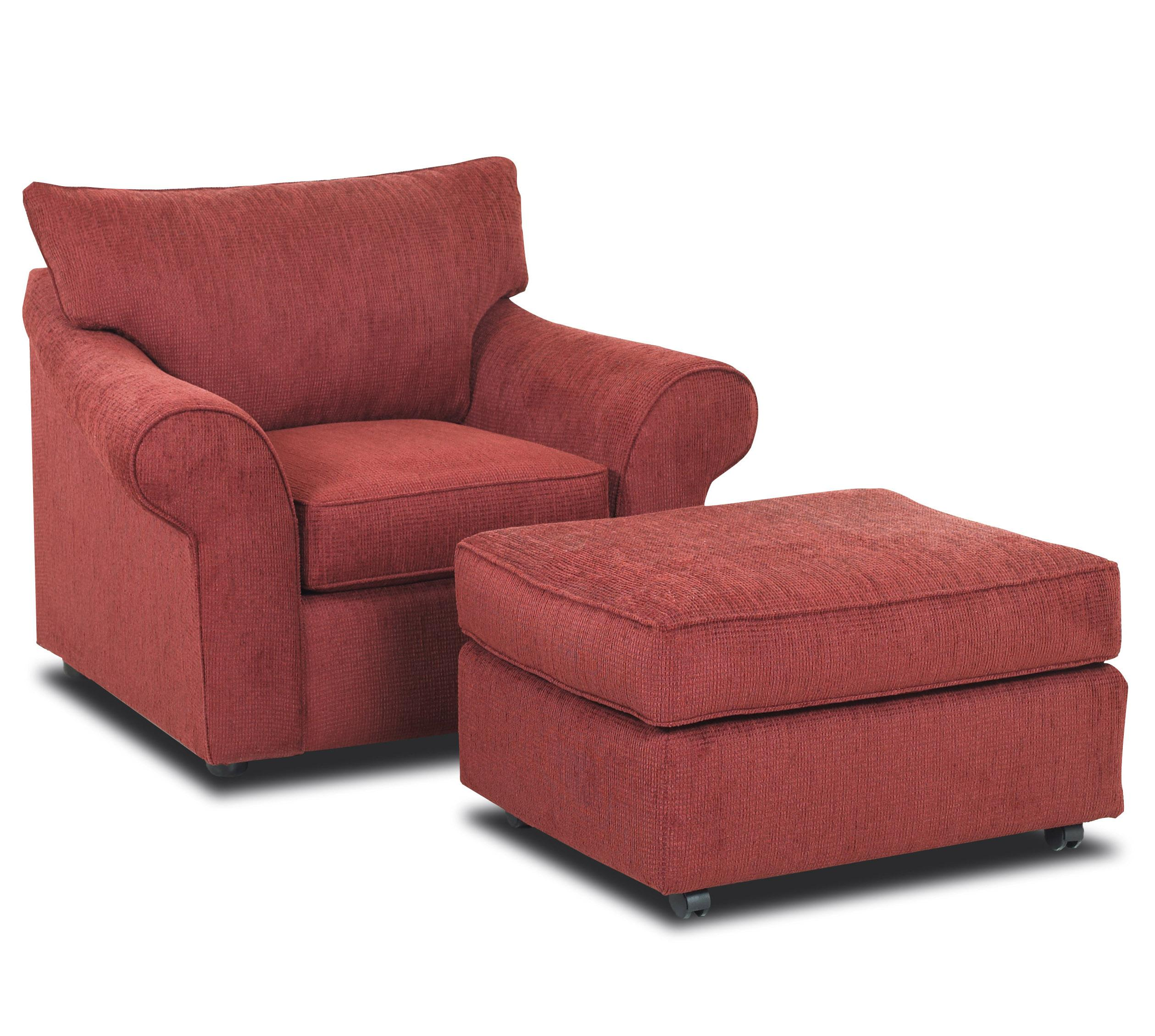 Chair And Wheeled Ottoman Set