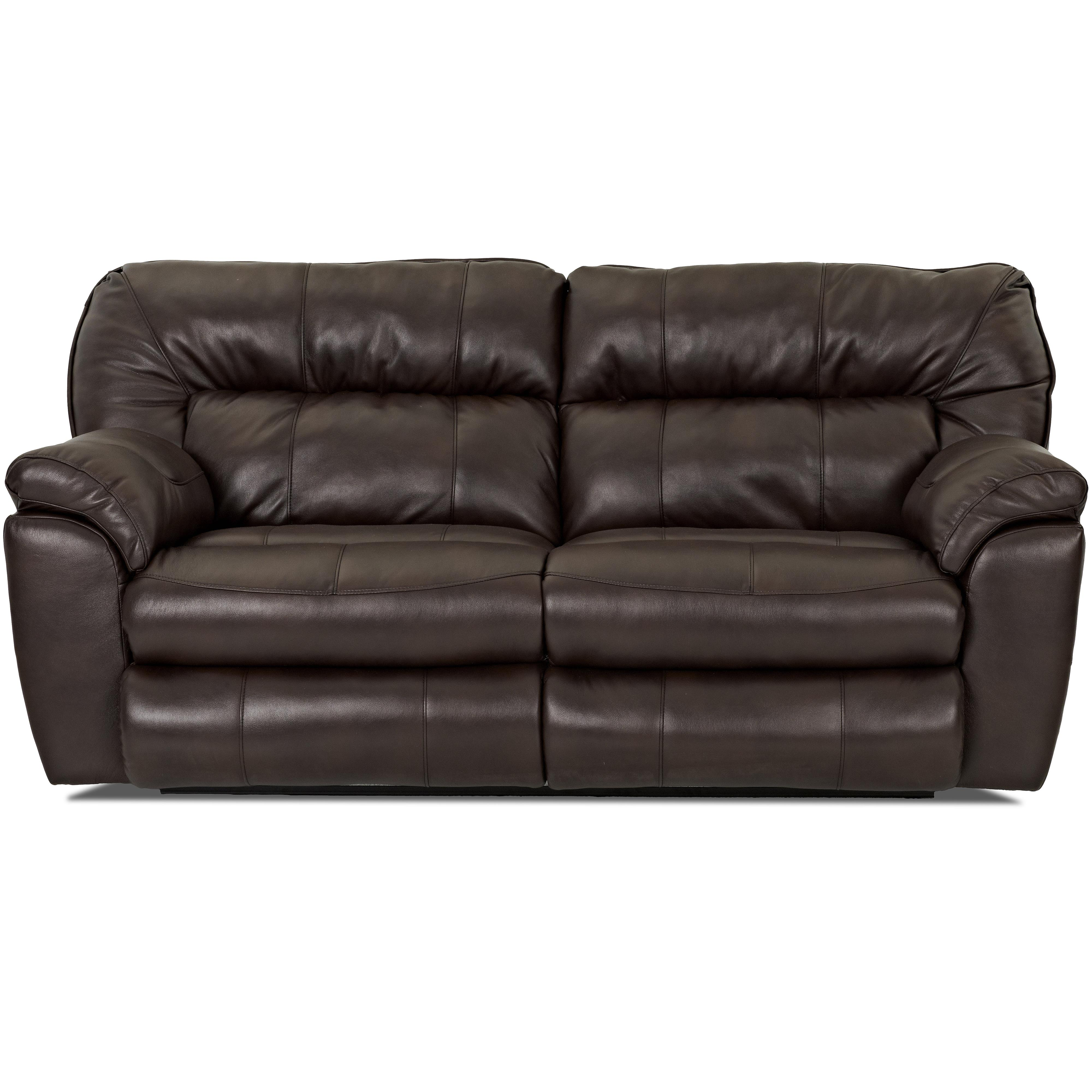 Casual Reclining Love Seat With Pillow Top Arms By Klaussner  ~ Leather Sofa Pillow Top Arms