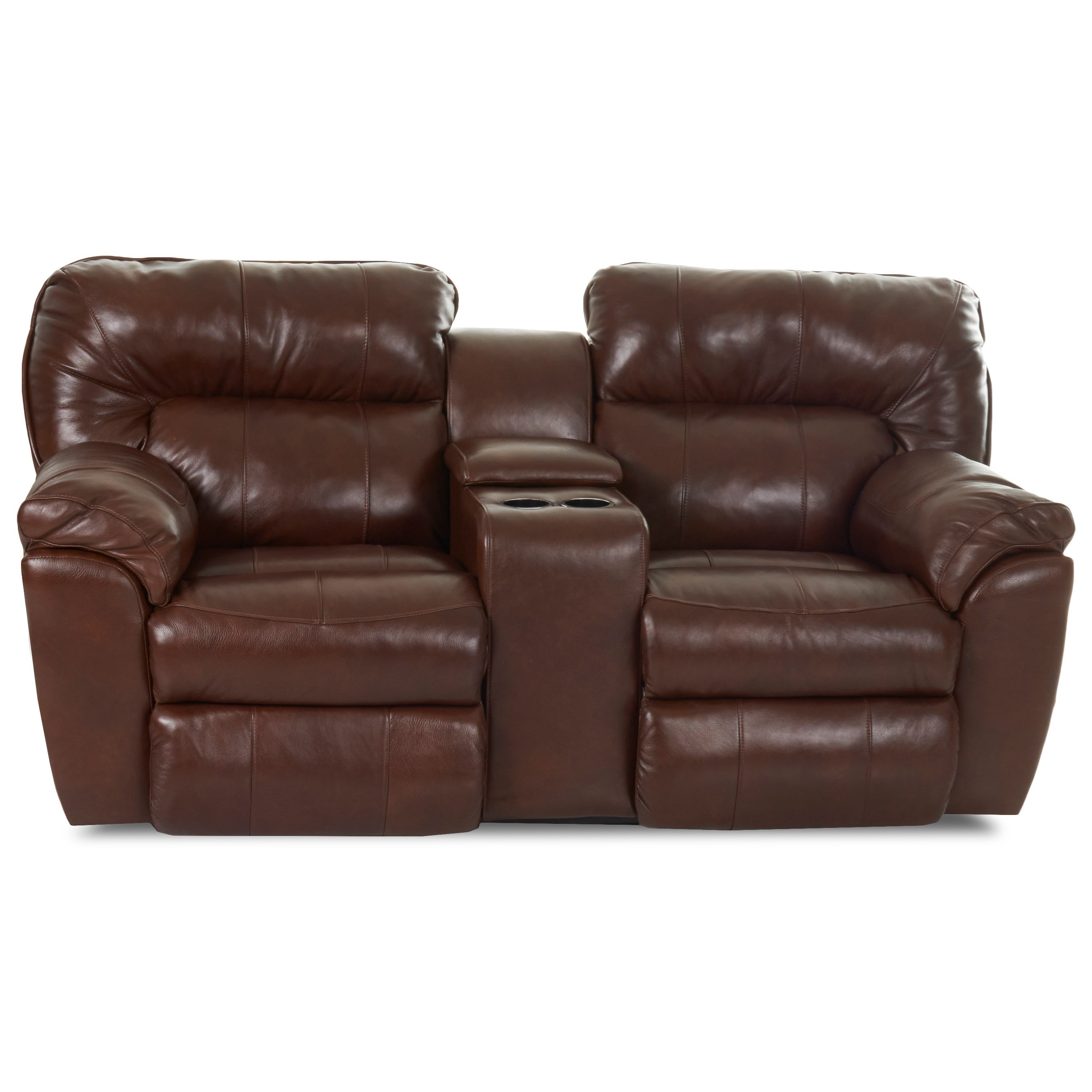 Casual Power Reclining Love Seat with Pillow Top Arms and Storage Console