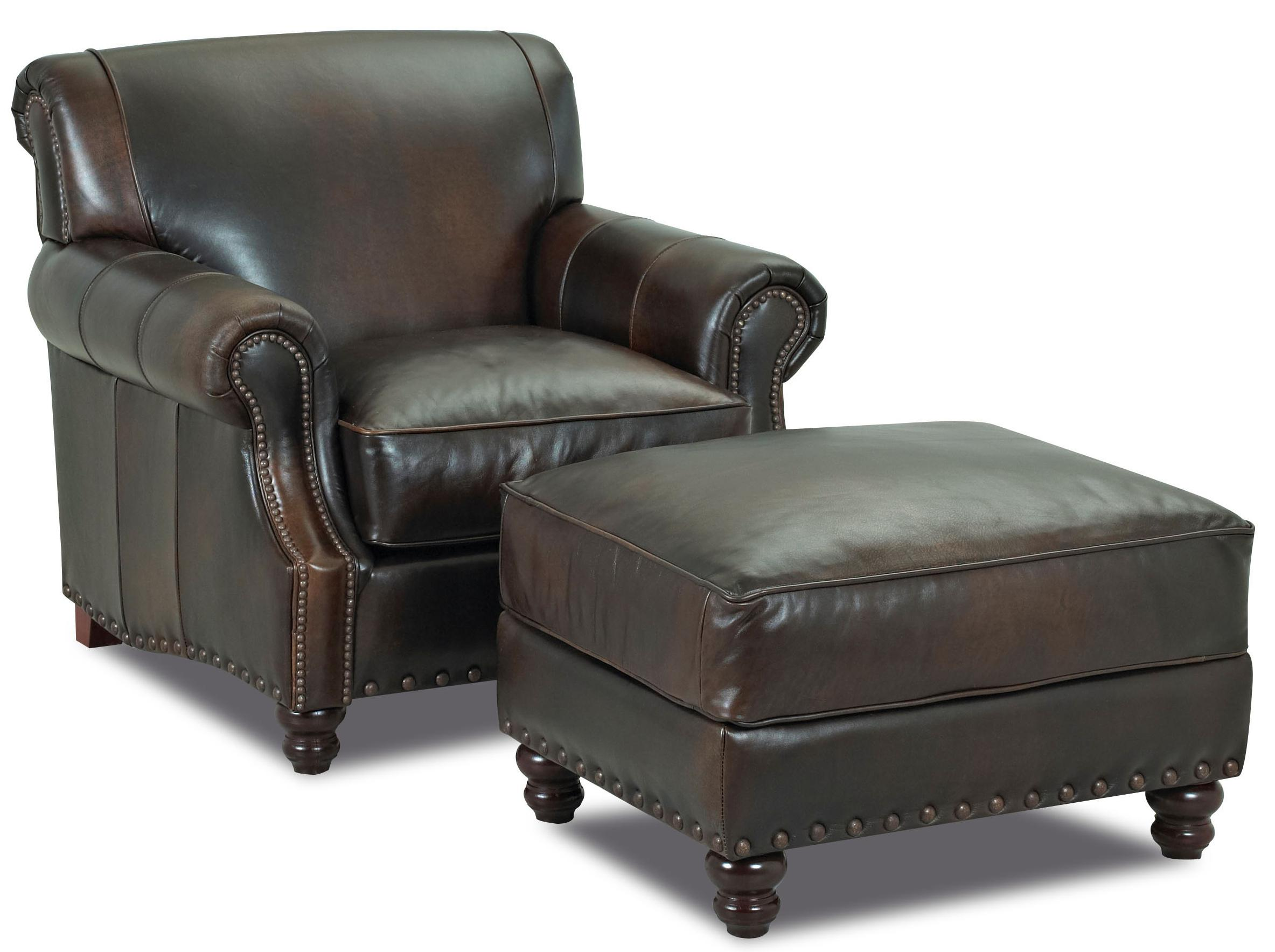 Traditional Leather Ottoman with Nail Head Trim by Klaussner