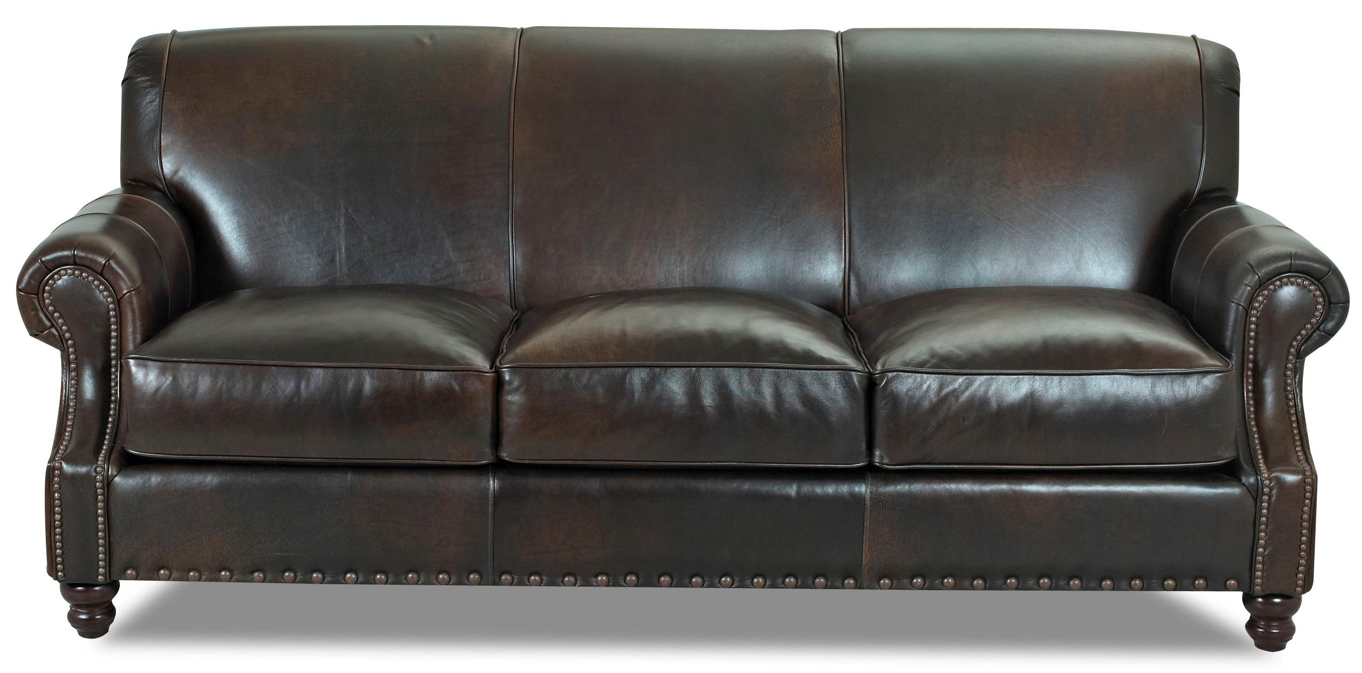 Traditional Leather Stationary Sofa with Nail Head Trim