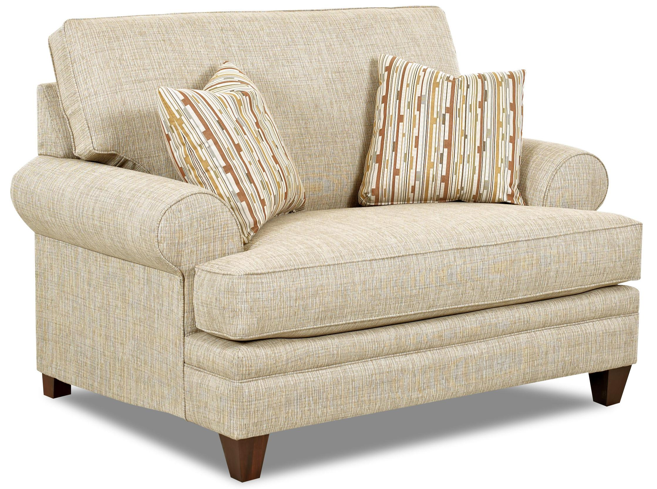 transitional oversized chair with accent pillowsklaussner