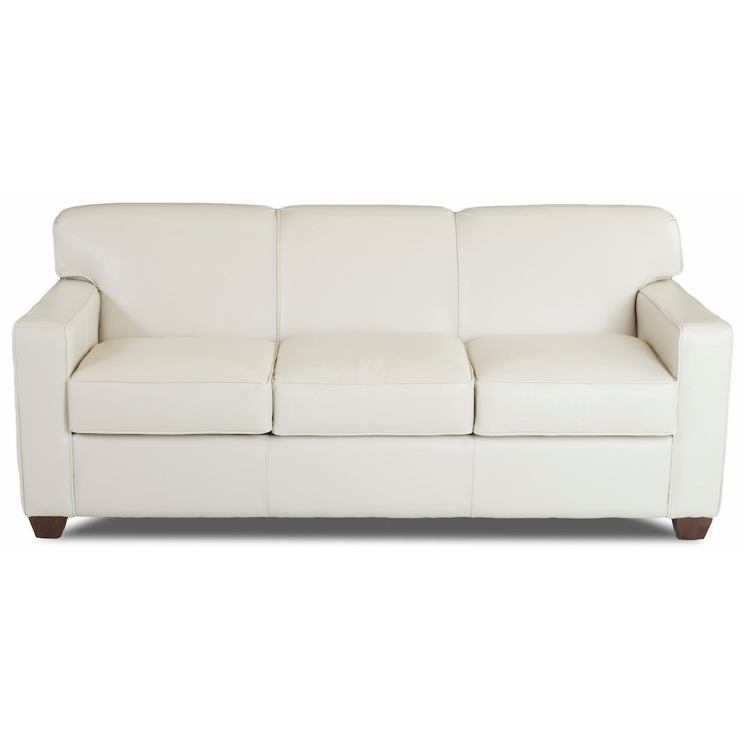 Contemporary Leather Air Coil Queen Sleeper Sofa with Tight Back and Track Arms