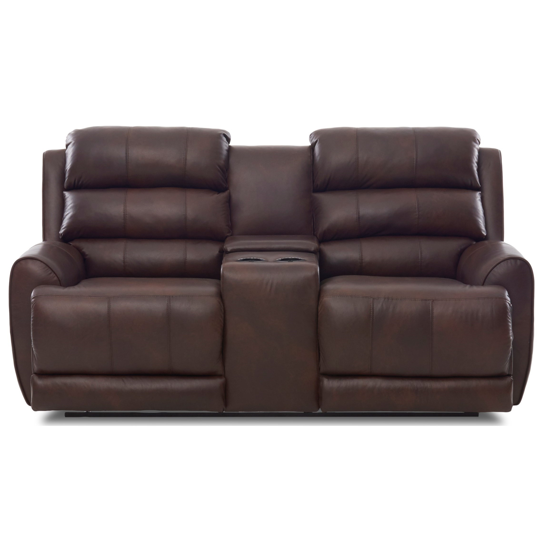 Contemporary Power Reclining Console Loveseat with Power Headrest/Lumbar, USB Ports, Bluetooth Functionality