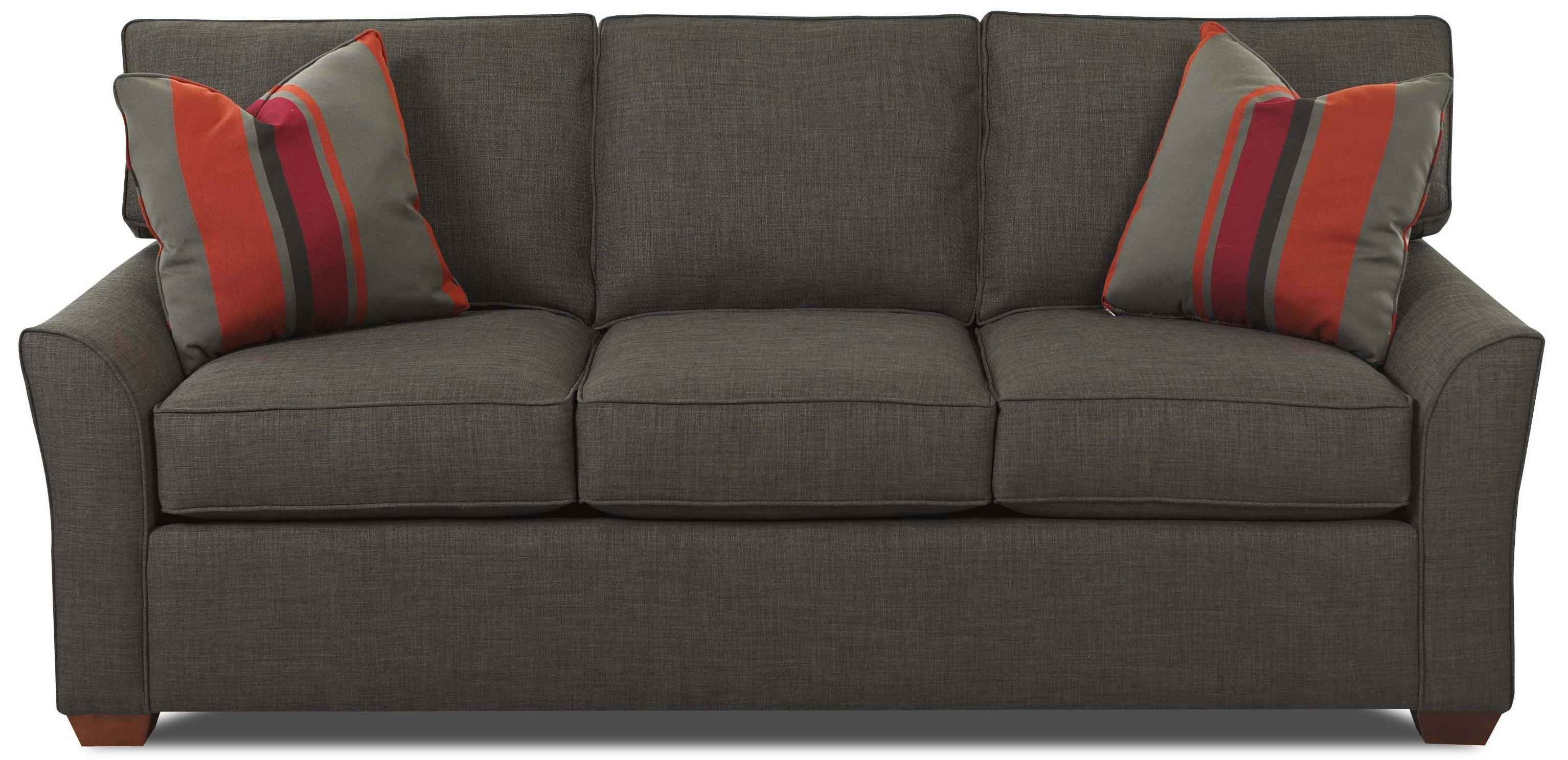 contemporary 3 seat sofa with box seat cushions by klaussner