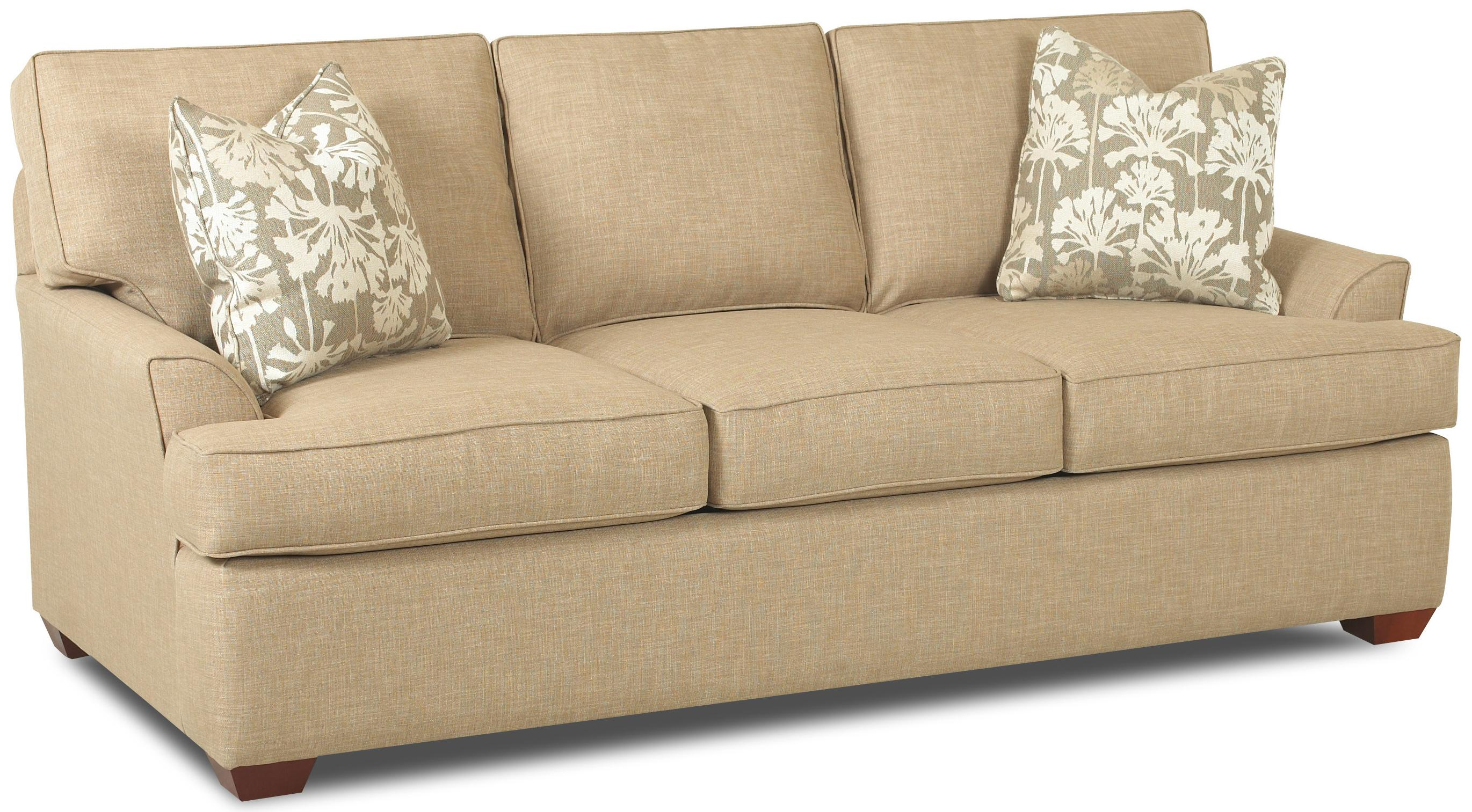 Contemporary 3 Seat Queen Innerspring Sleeper Sofa With Flared Arms