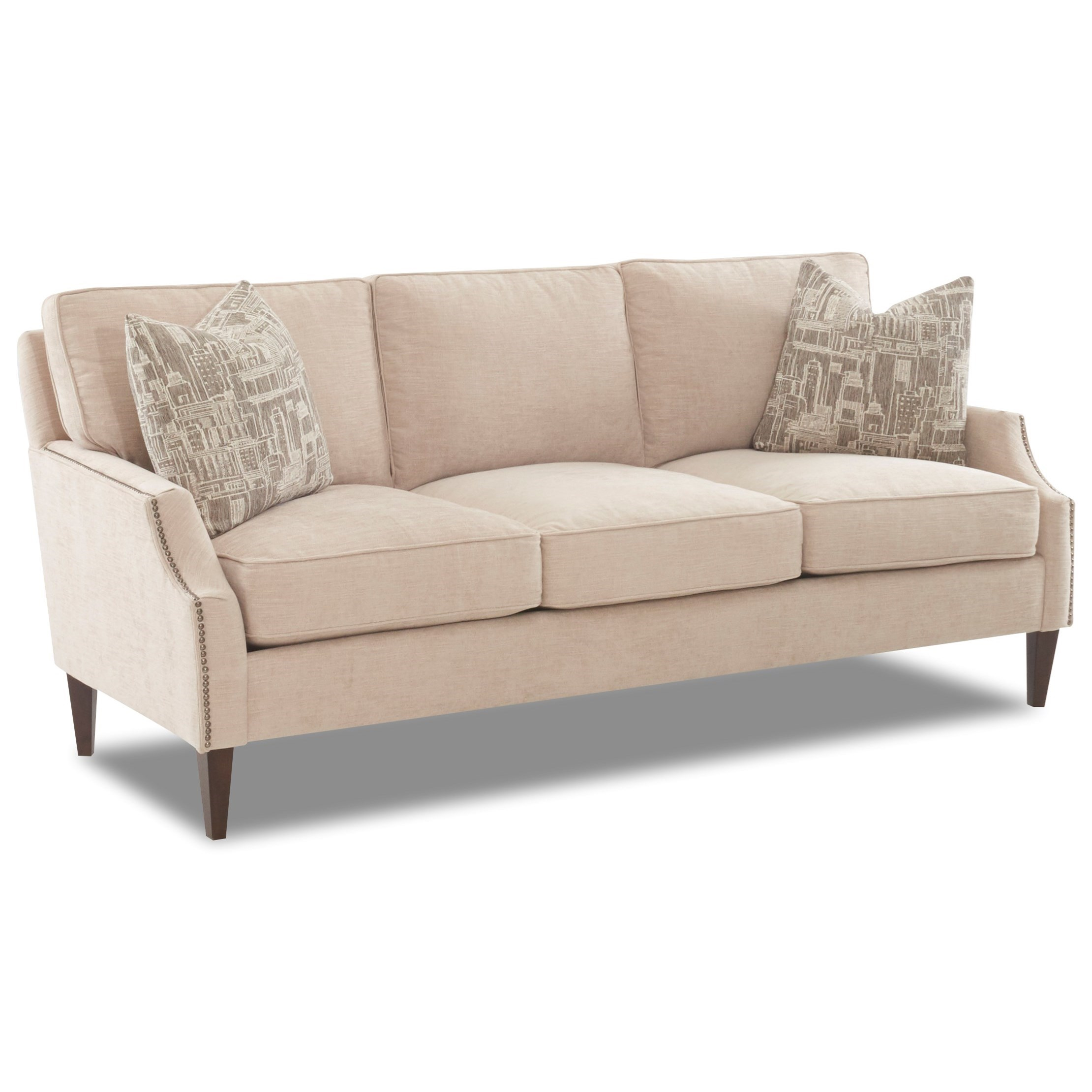 Transitional Sofa with Arm Pillows