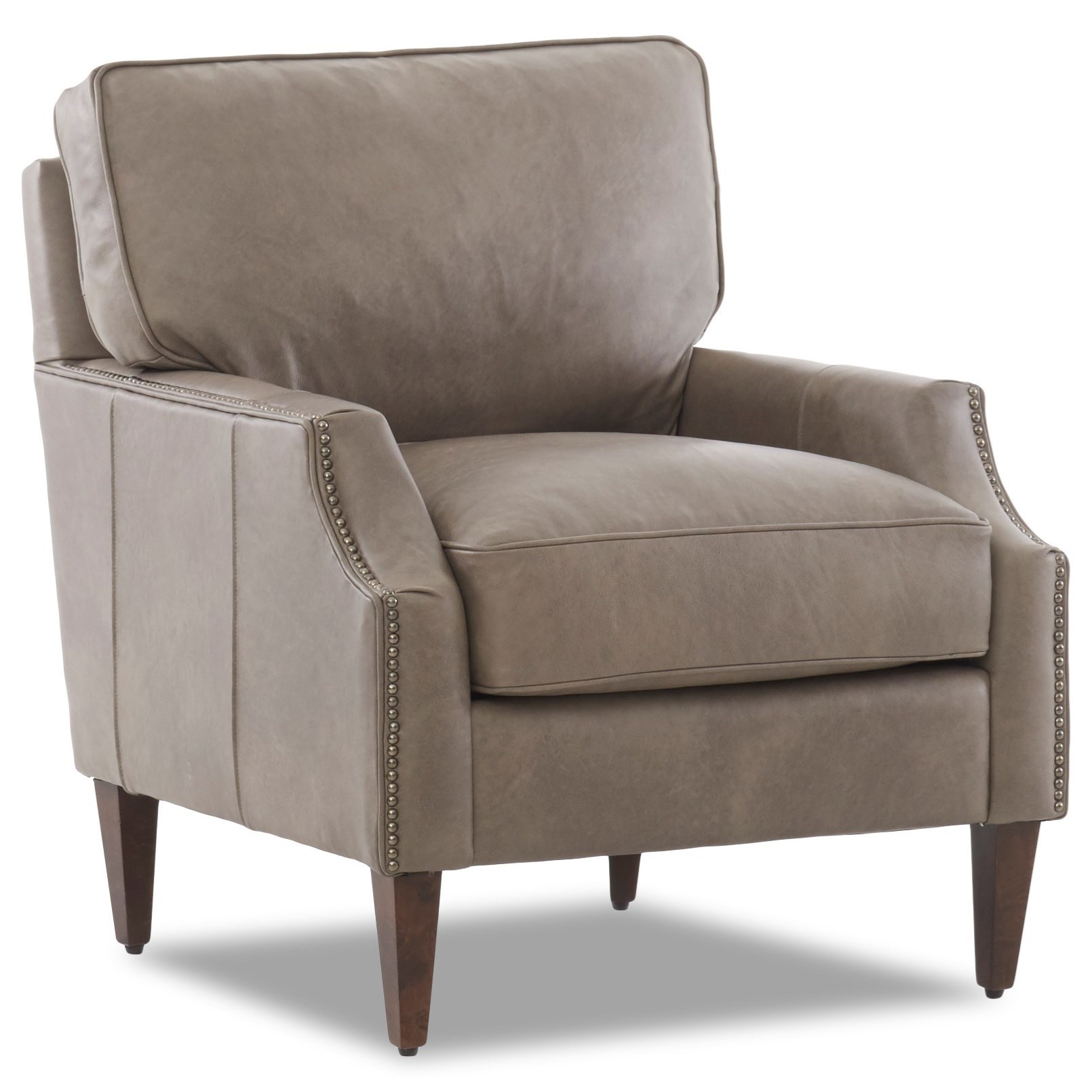 Leather Chair with Scalloped Arms