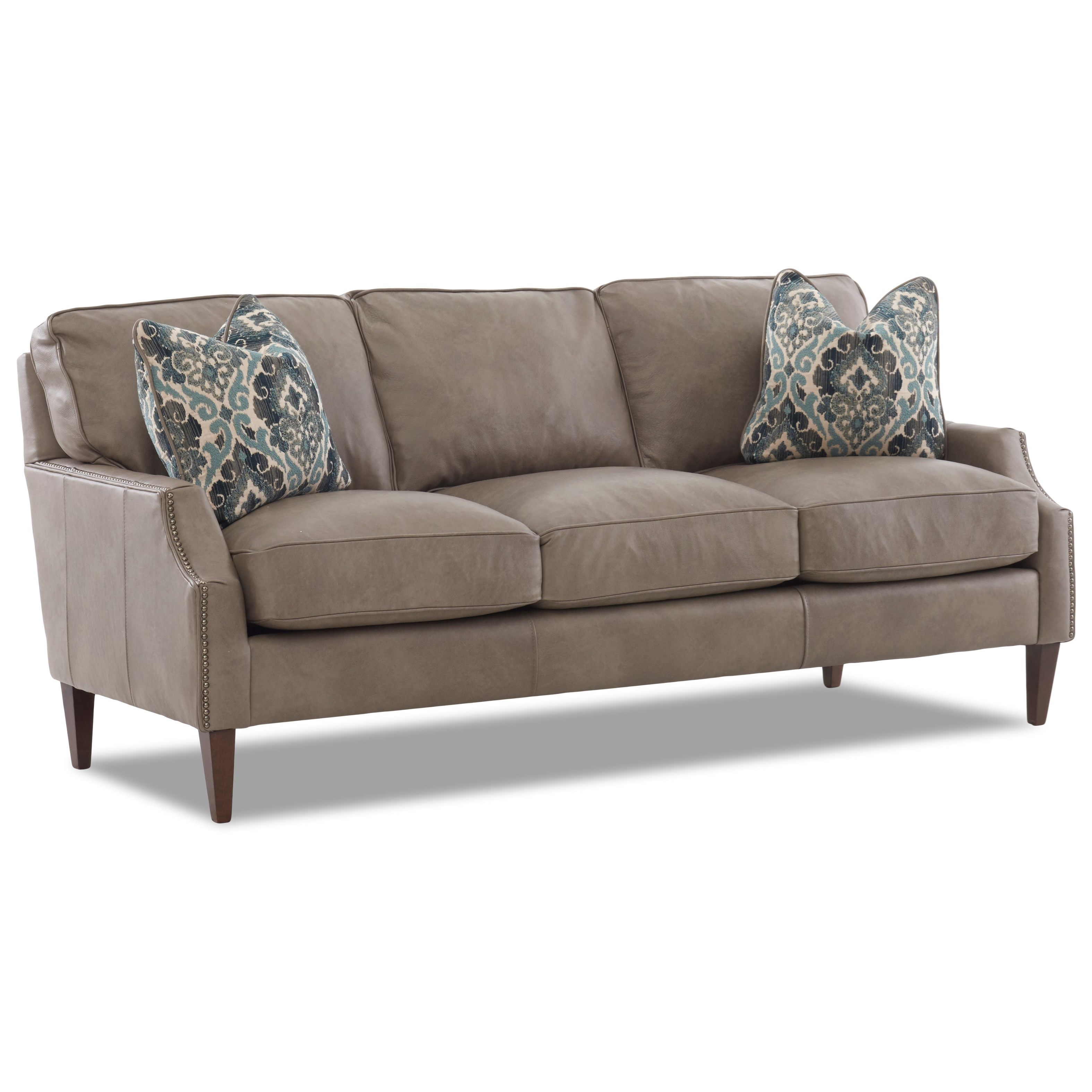 Leather Sofa with Arm Pillows