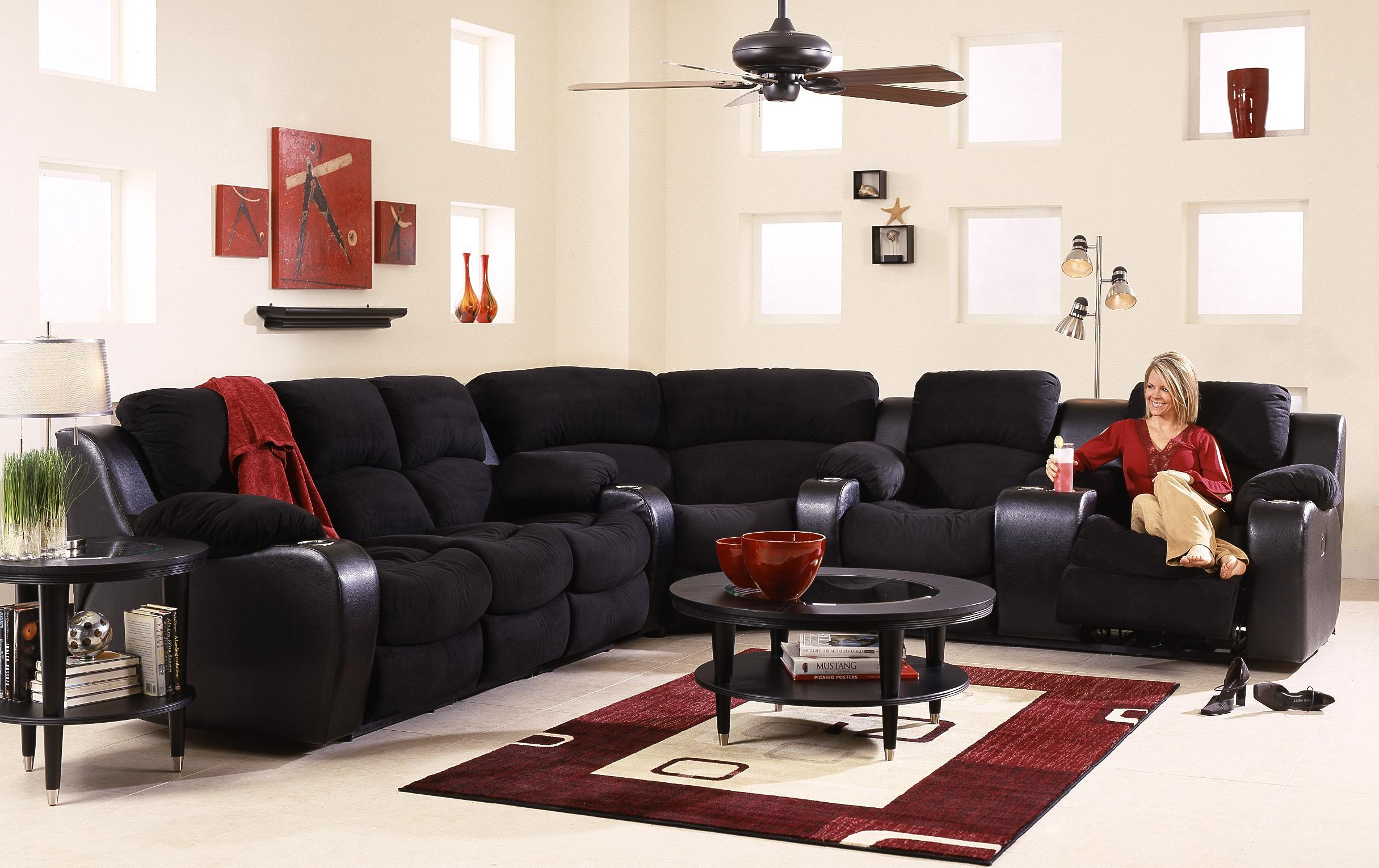 Reclining Sectional Sofa With Console by Klaussner