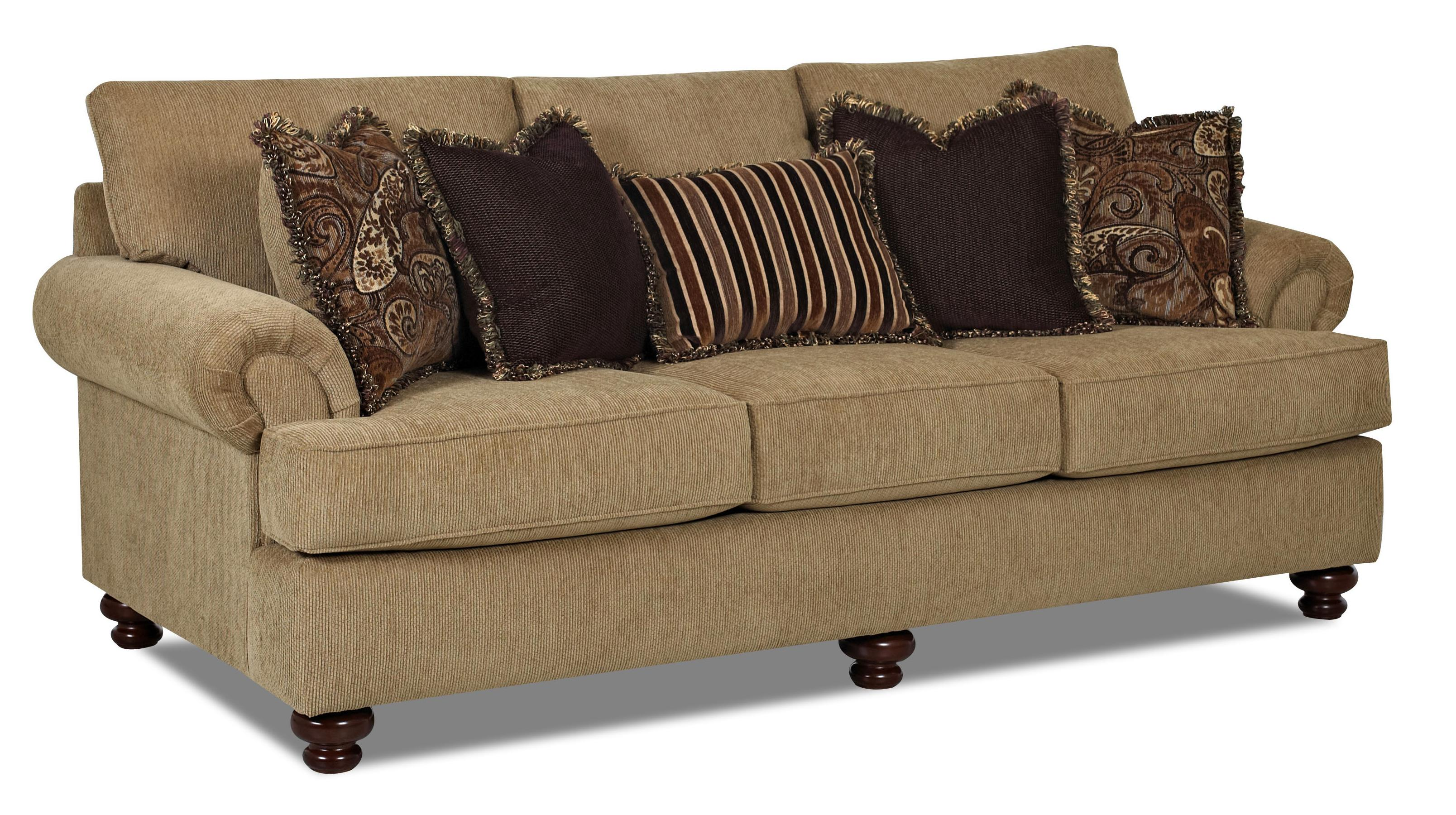 Traditional Stationary Sofa With Rolled Arms And Bun Feet