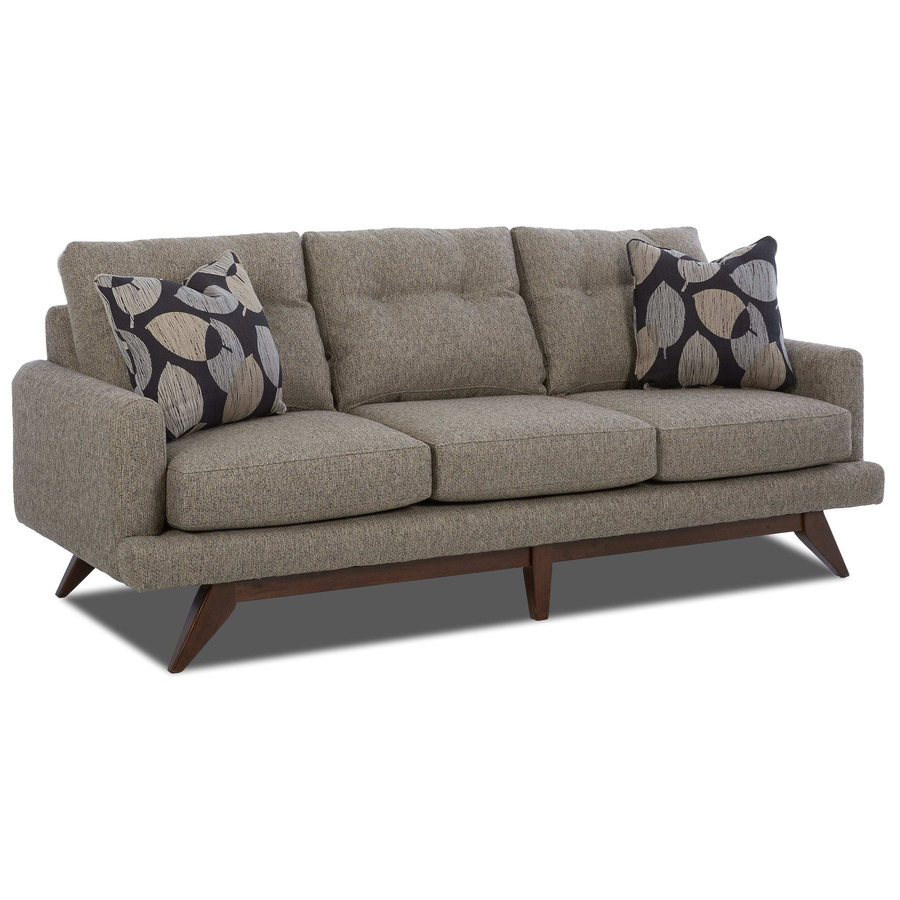 Mid Century Modern Sofa with Tufted Back and Modern Platform Base