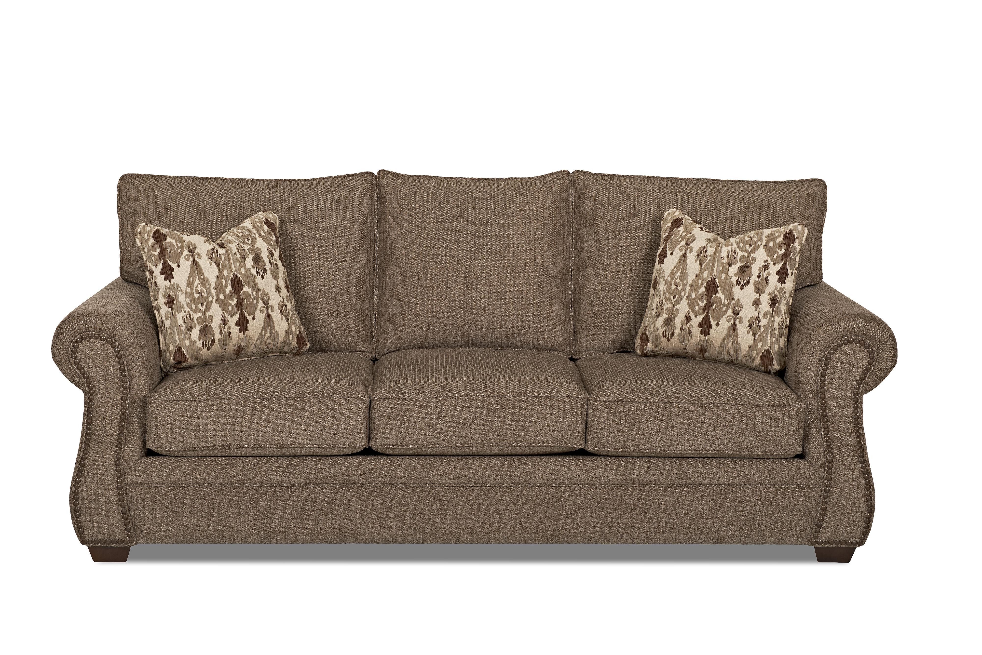 Traditional Enso Memory Foam Queen Sleeper Sofa with Nailhead Trim