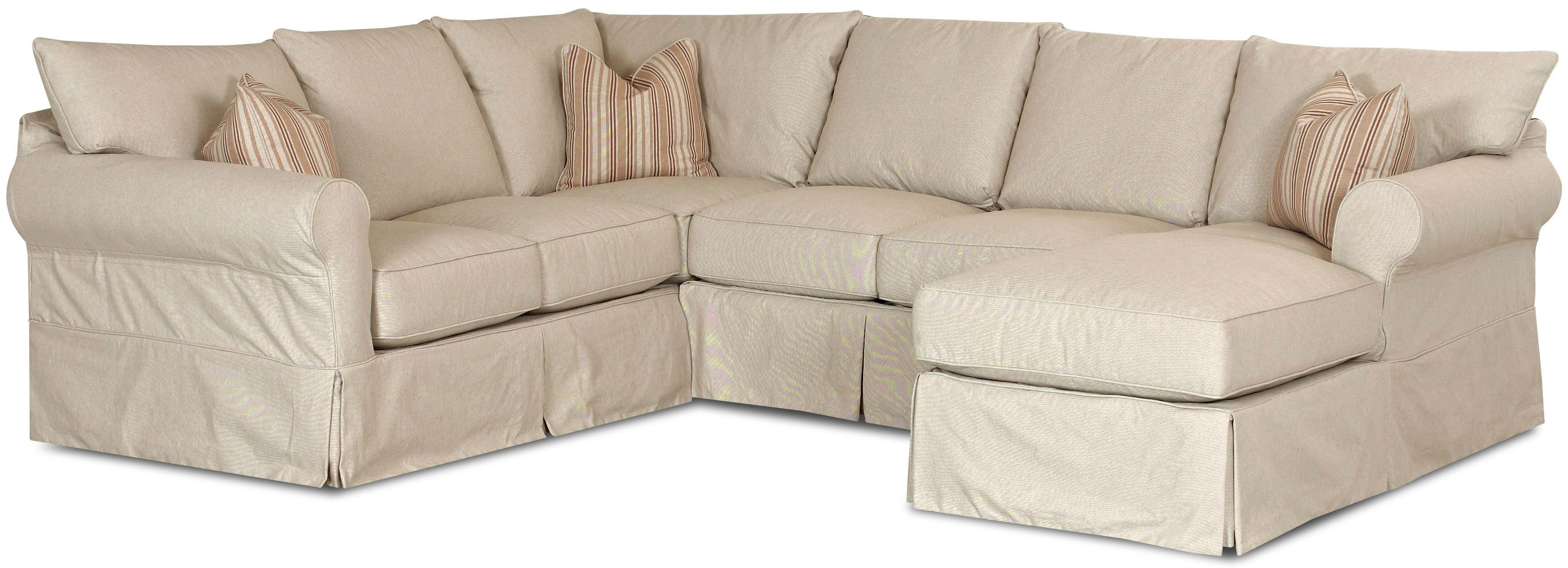 Slip cover sectional sofa with right chaise by klaussner for Chaise couch cover