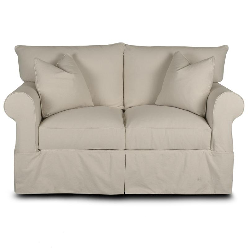 Awesome Slipcover Loveseat With Rolled Arms And Skirt By Klaussner Bralicious Painted Fabric Chair Ideas Braliciousco
