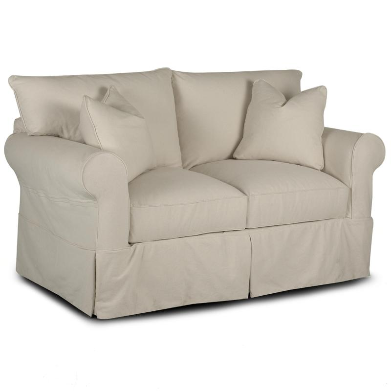 Super Slipcover Loveseat With Rolled Arms And Skirt By Klaussner Machost Co Dining Chair Design Ideas Machostcouk