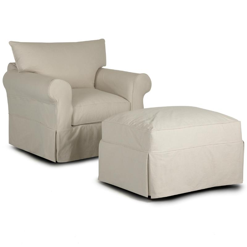 Slipcover Chair Amp Ottoman With Rolled Arms And Skirts By