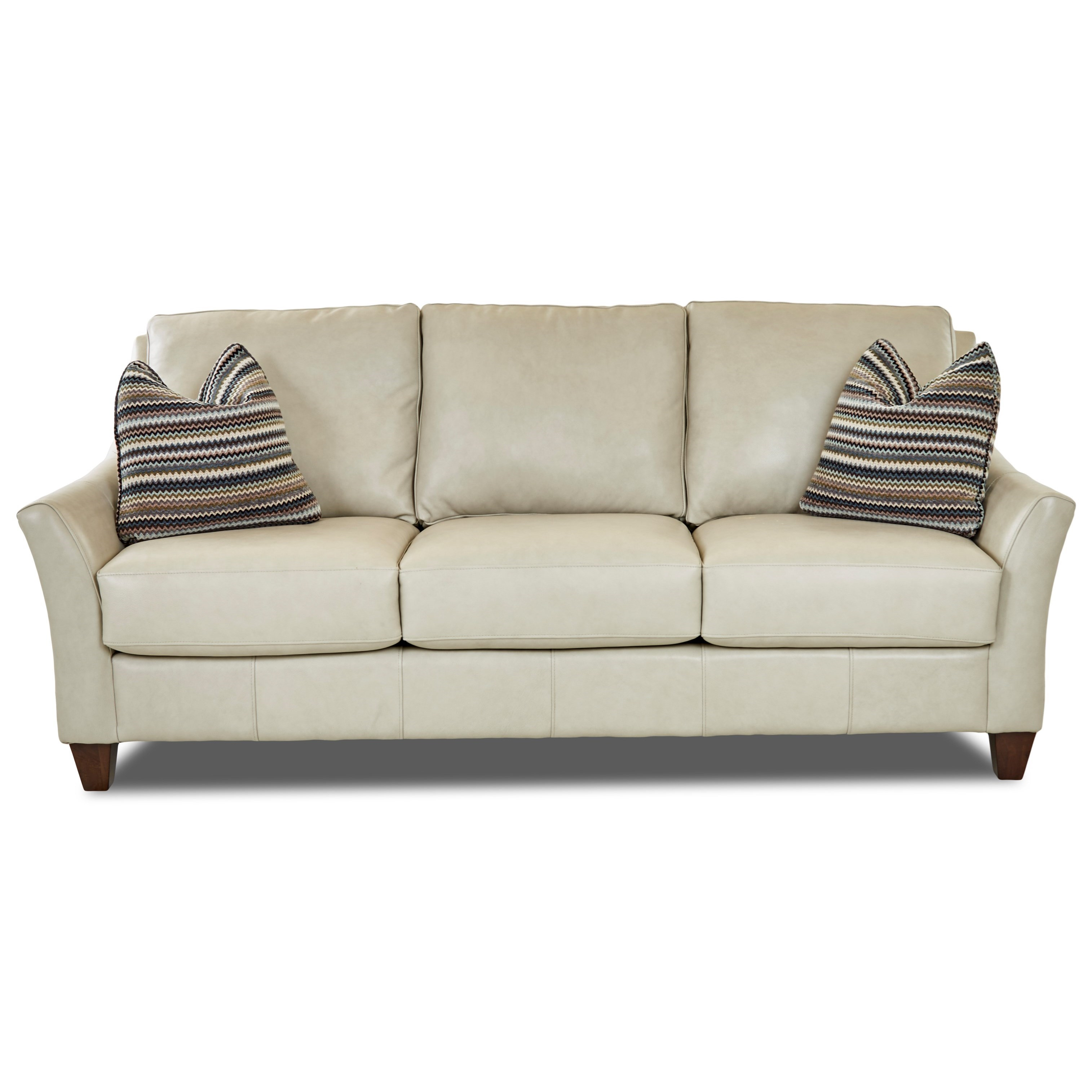 Contemporary Leather Sofa with Toss Pillows