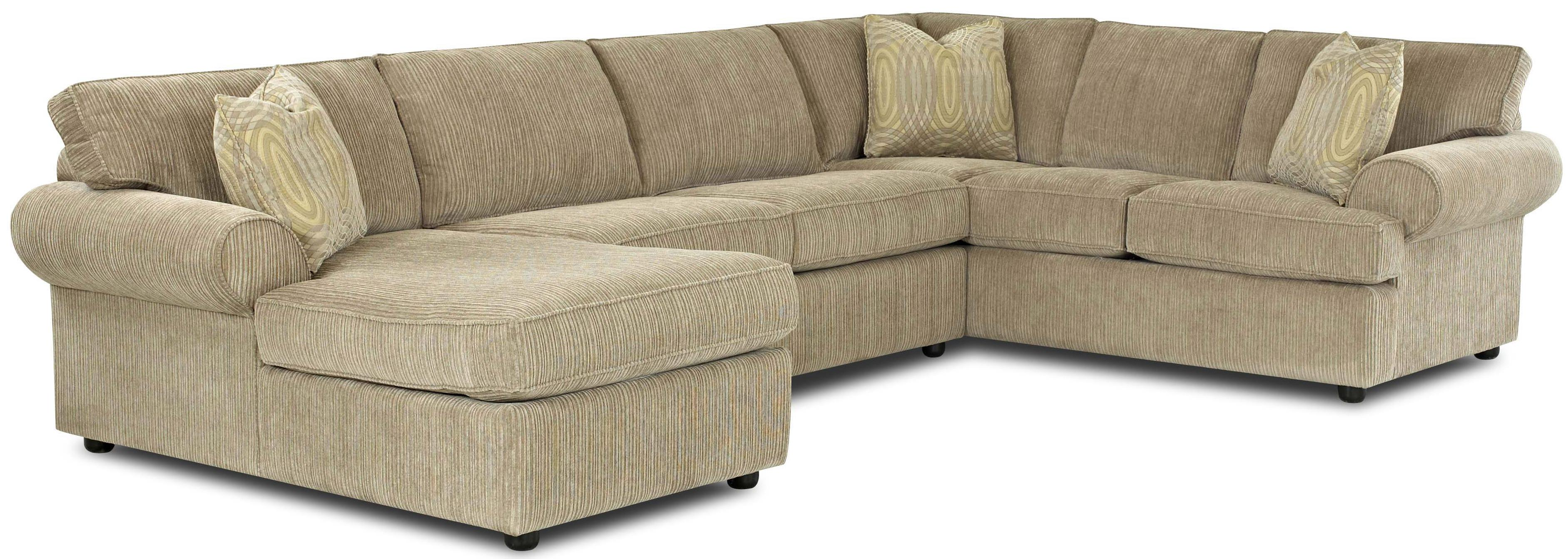 Transitional Sectional Sofa with Rolled Arms and Left Chaise by