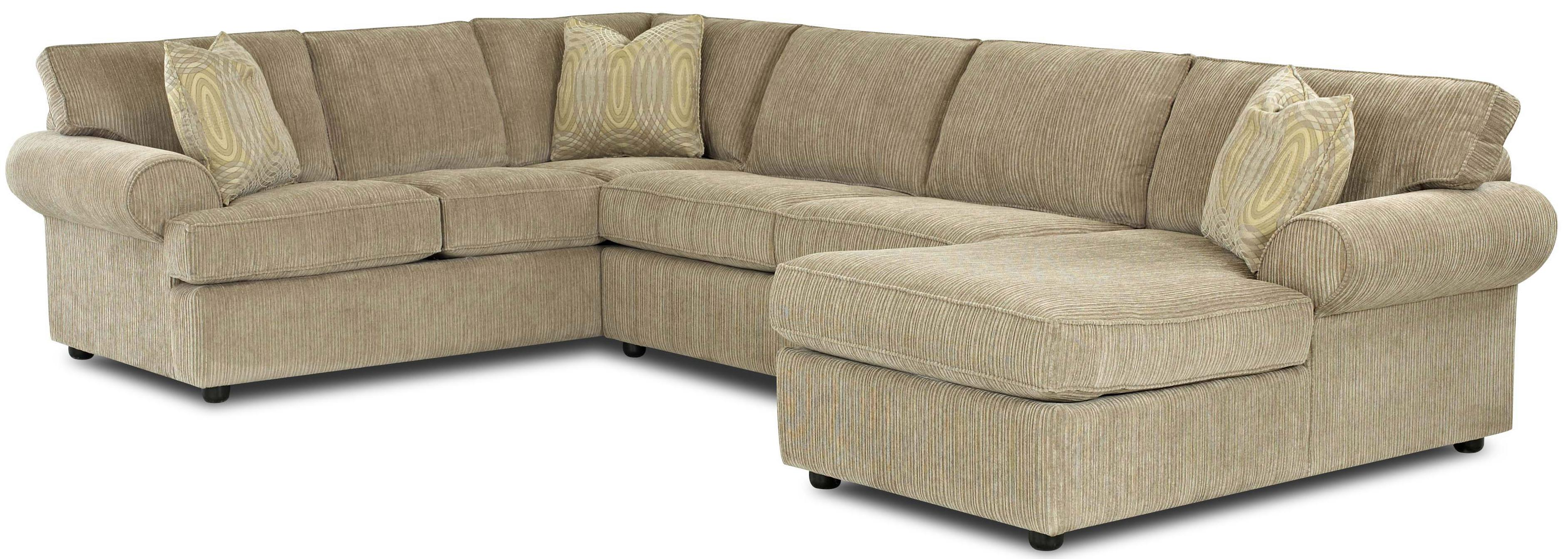 Transitional Sectional Sofa with Rolled Arms and Right Chaise and