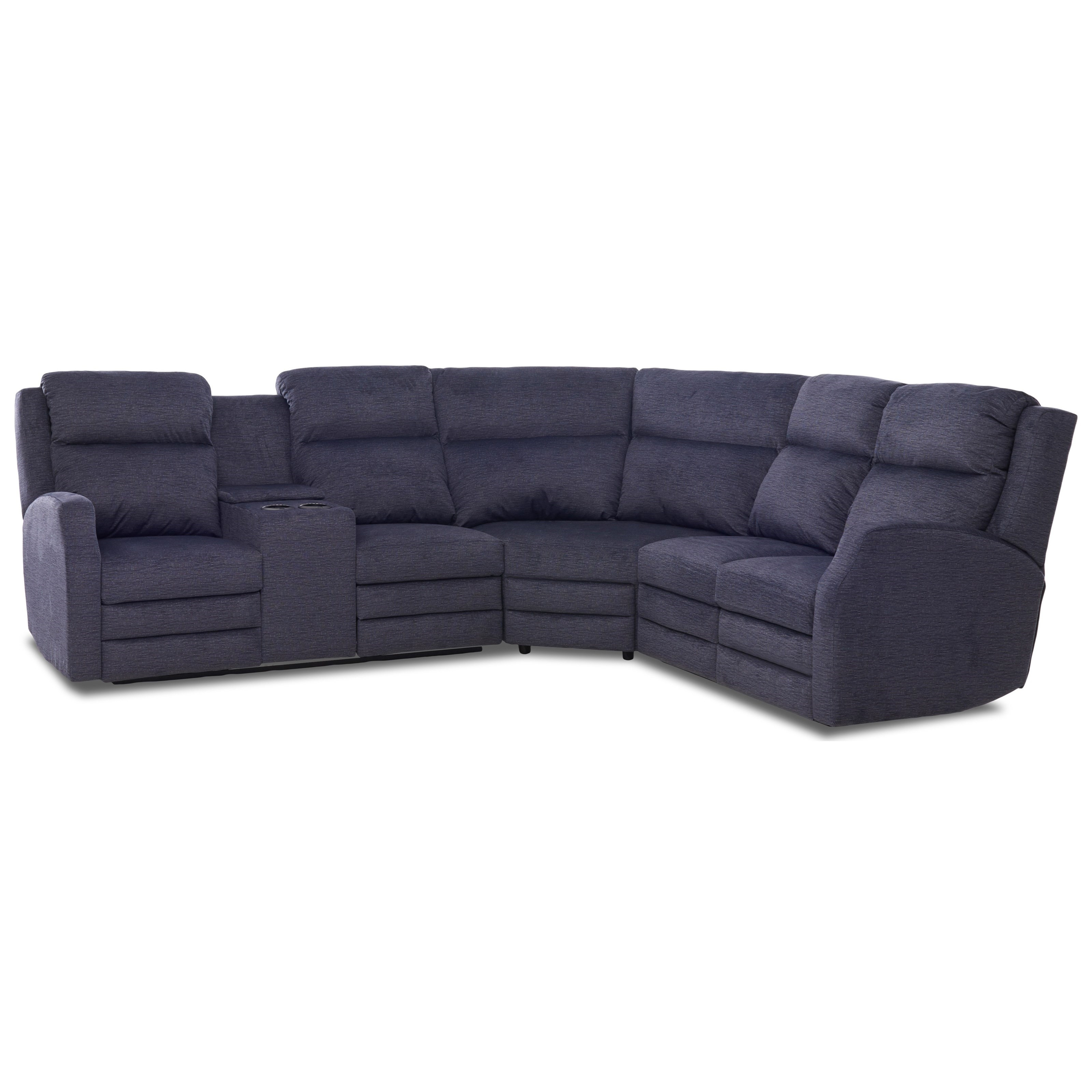 Four Seat Power Reclining Sectional Sofa with Power Headrests / Lumbar, Cupholder Storage Console, USB Charging Ports