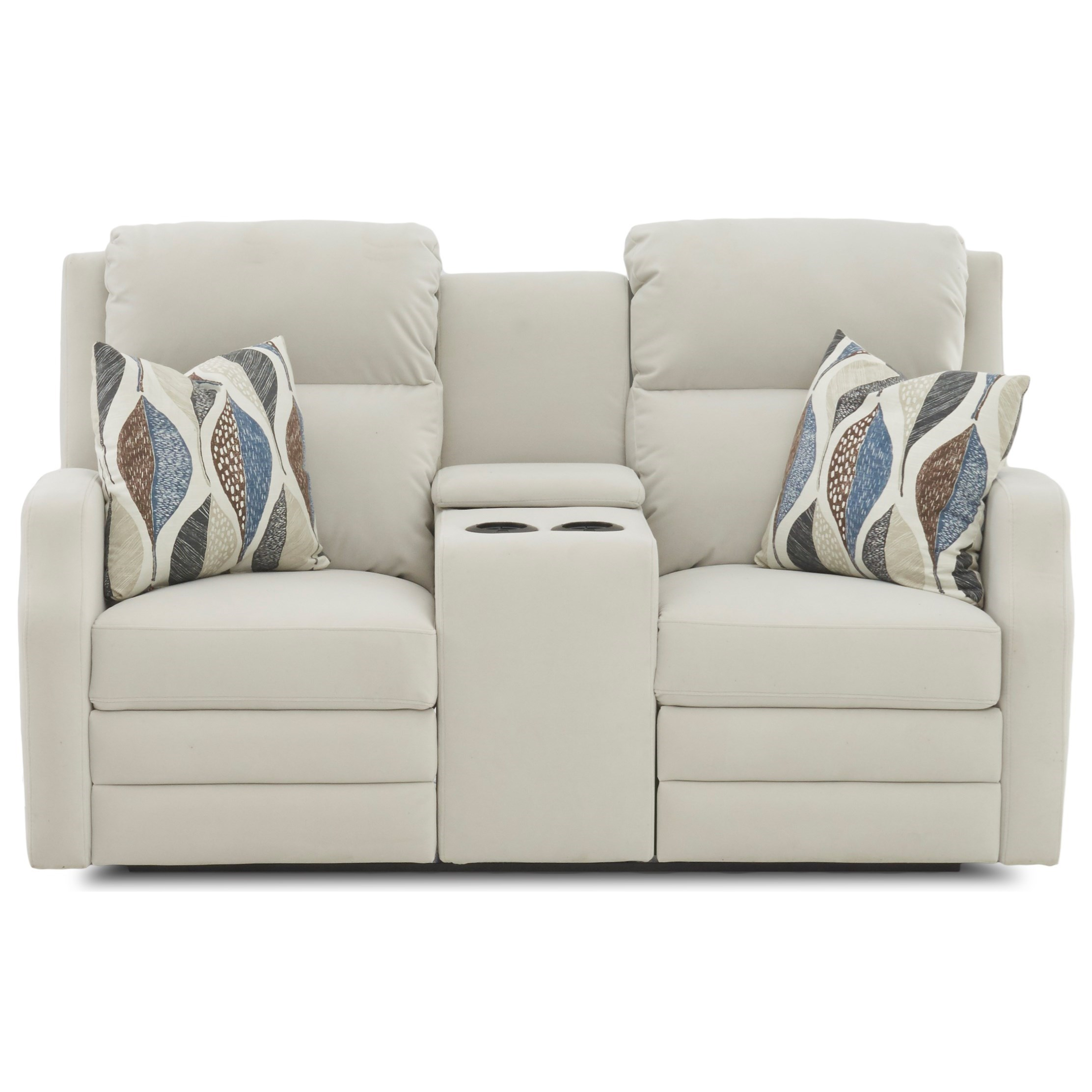 Power Reclining Console Loveseat with USB Charging Ports and Toss Pillows