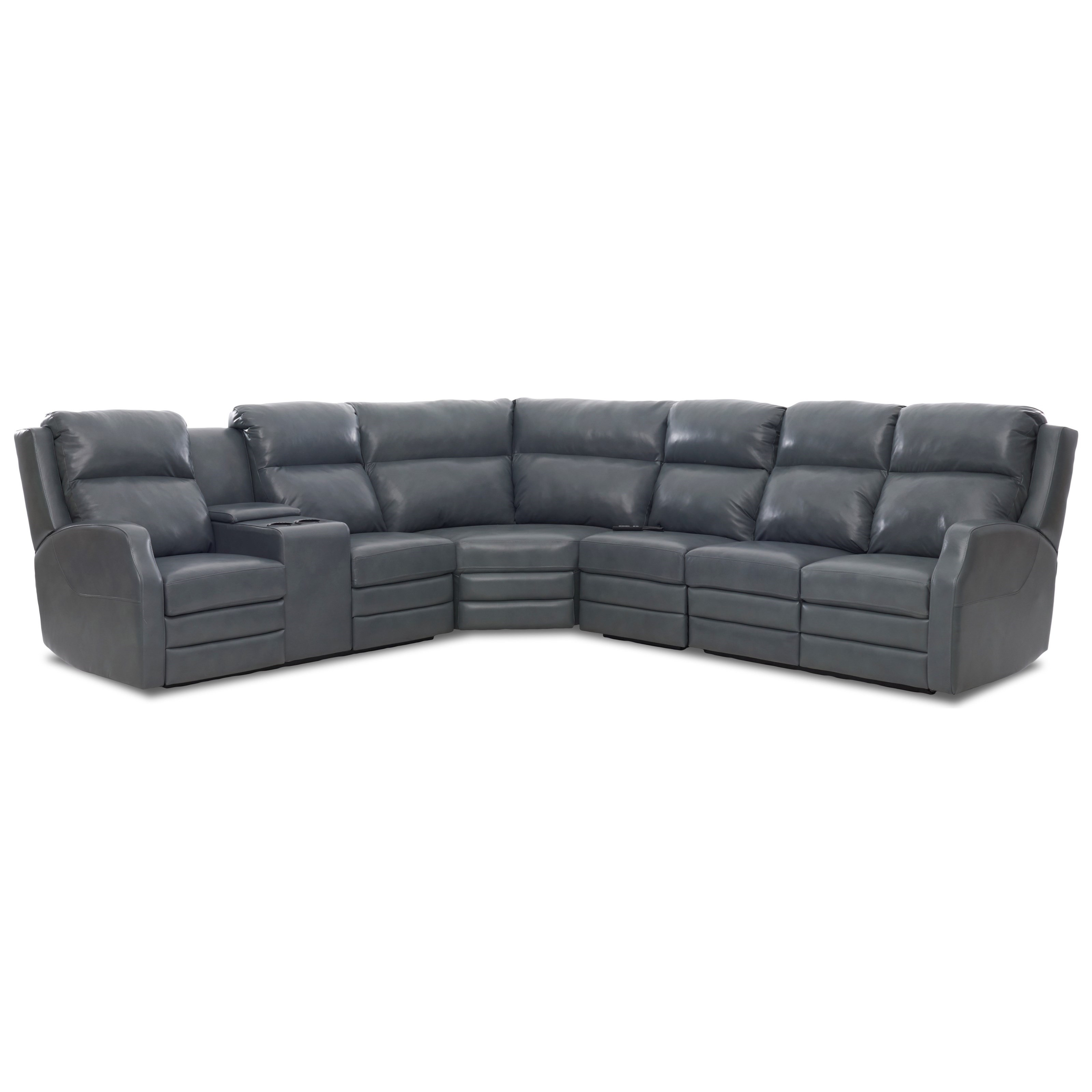 Four Seat Power Reclining Sectional Sofa with Power Headrests, Cupholder Storage Console, USB Charging Ports