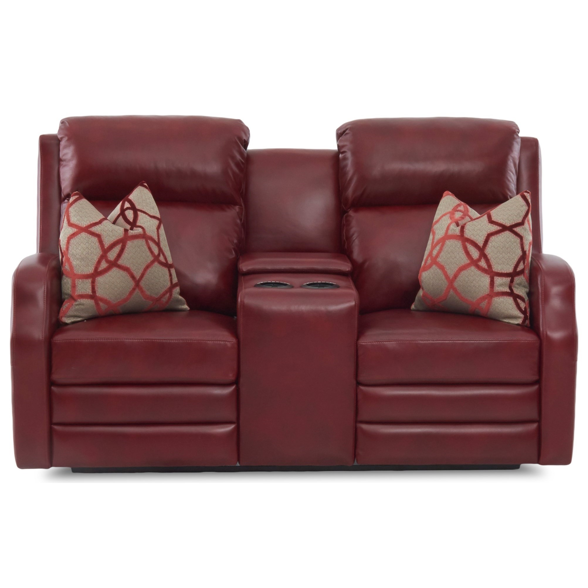 Reclining Loveseat with Cupholder Storage Console and Toss Pillows