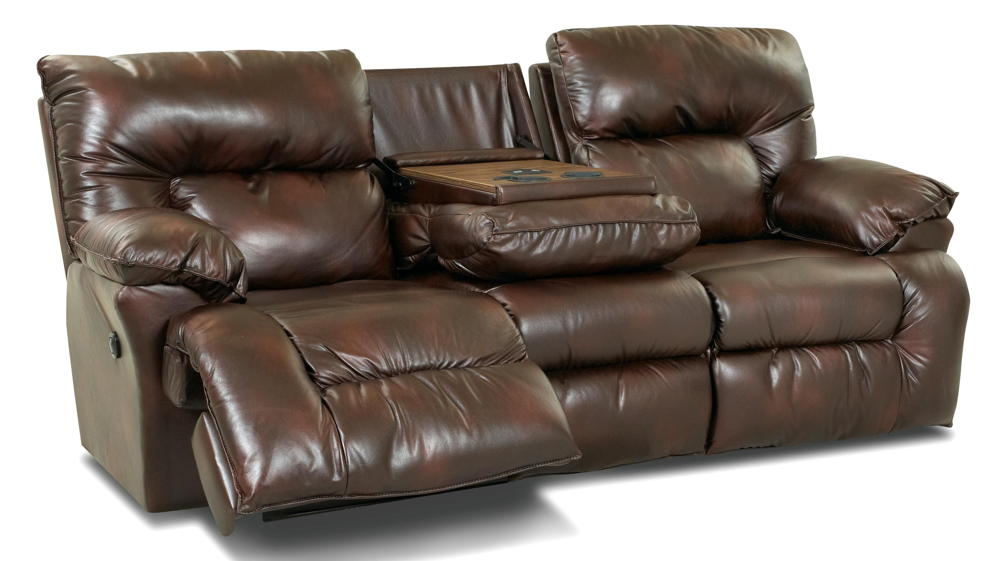 Power Reclining Sofa With Drop-Down Table And Cupholders