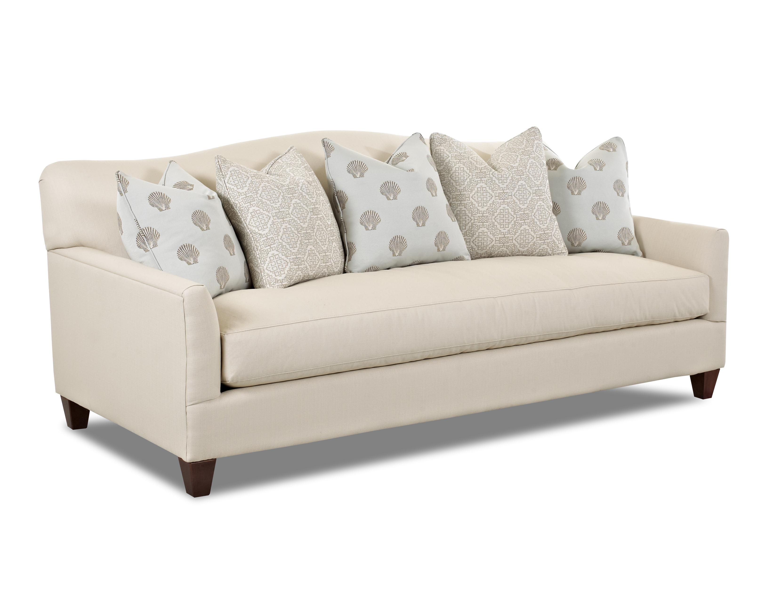 Nice Contemporary Stationary Sofa With Bench Seat Cushion And Camel Back