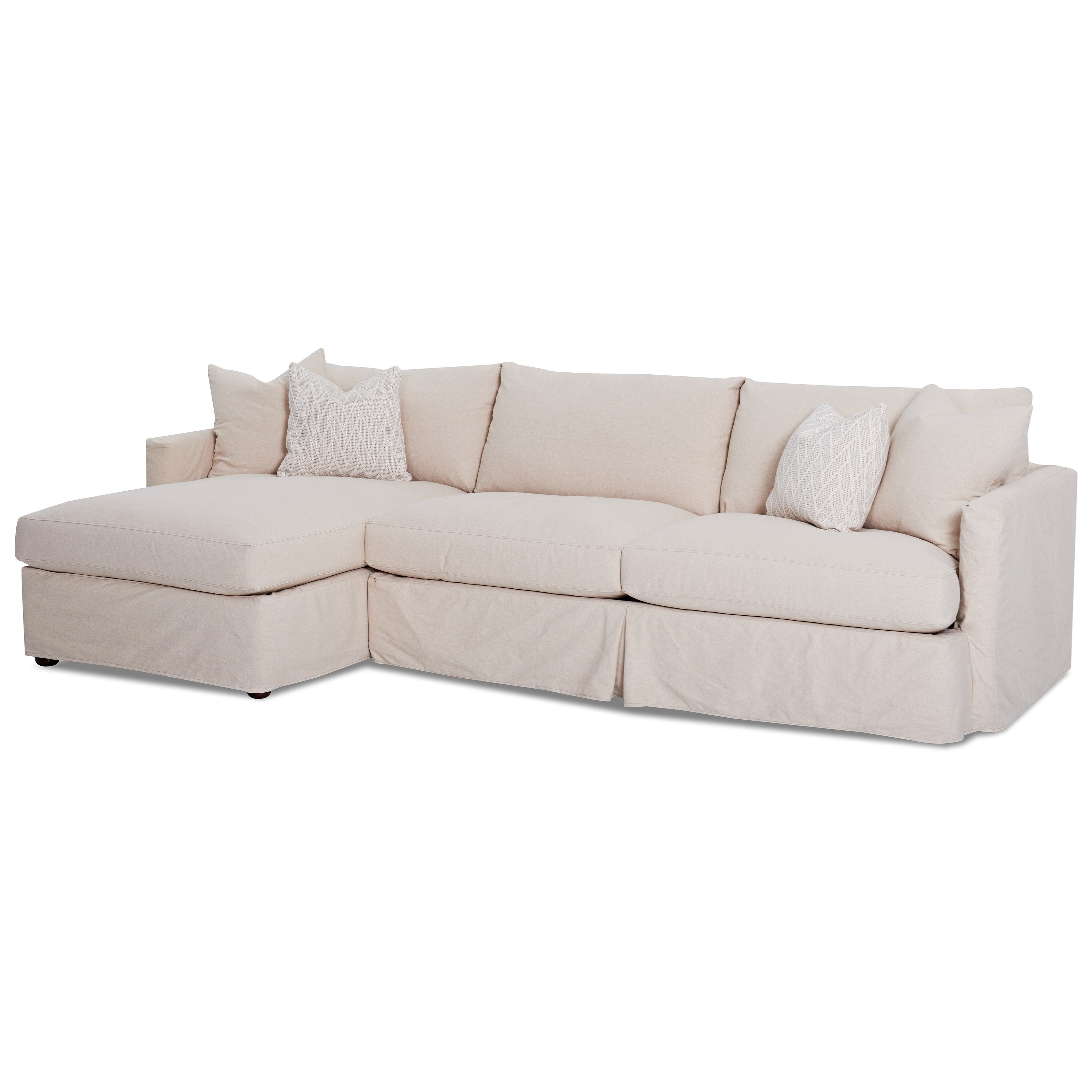 2 Pc Sectional Sofa with Slipcover and LAF Chaise