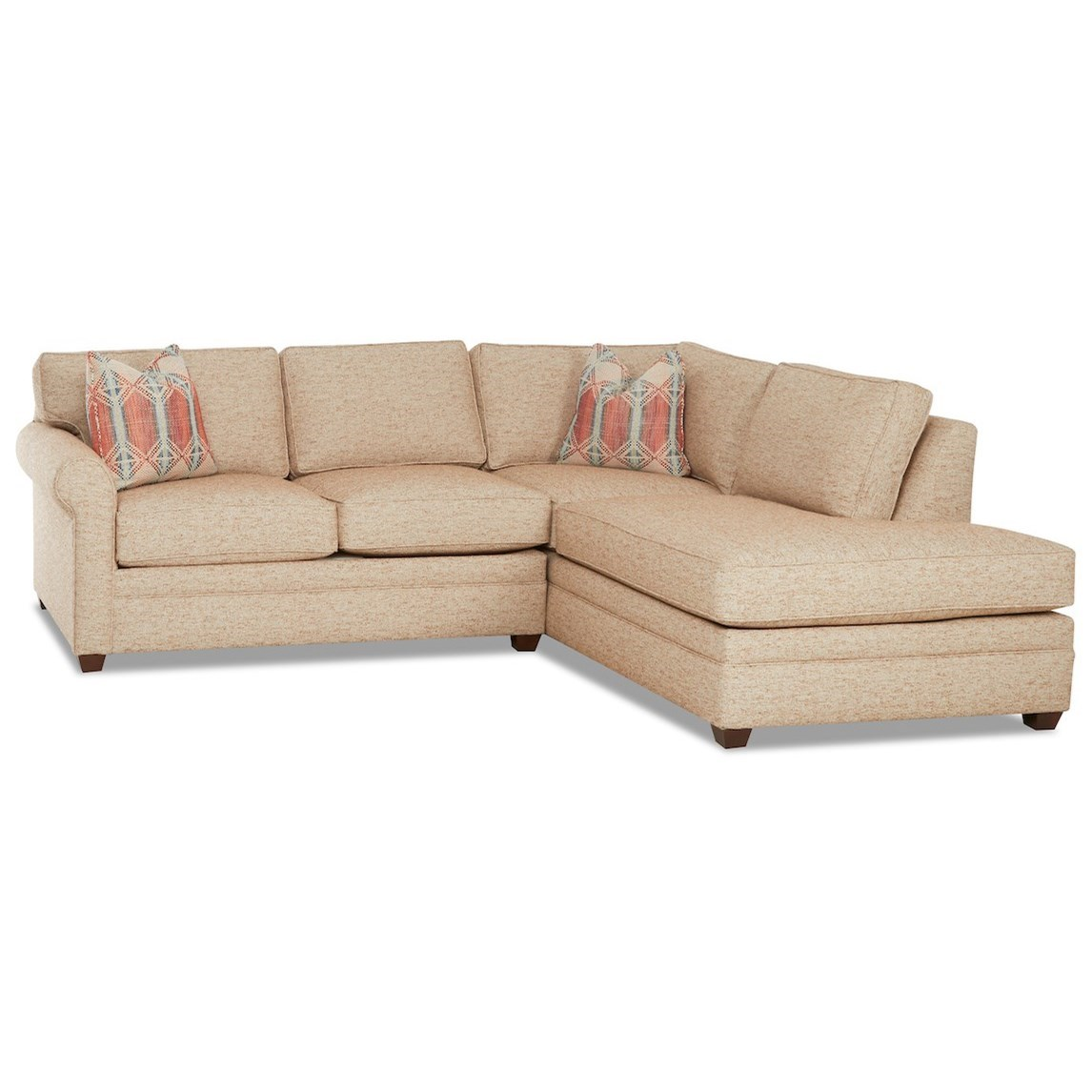 Casual 2-Piece Sectional Sofa with RAF Sofa Chaise