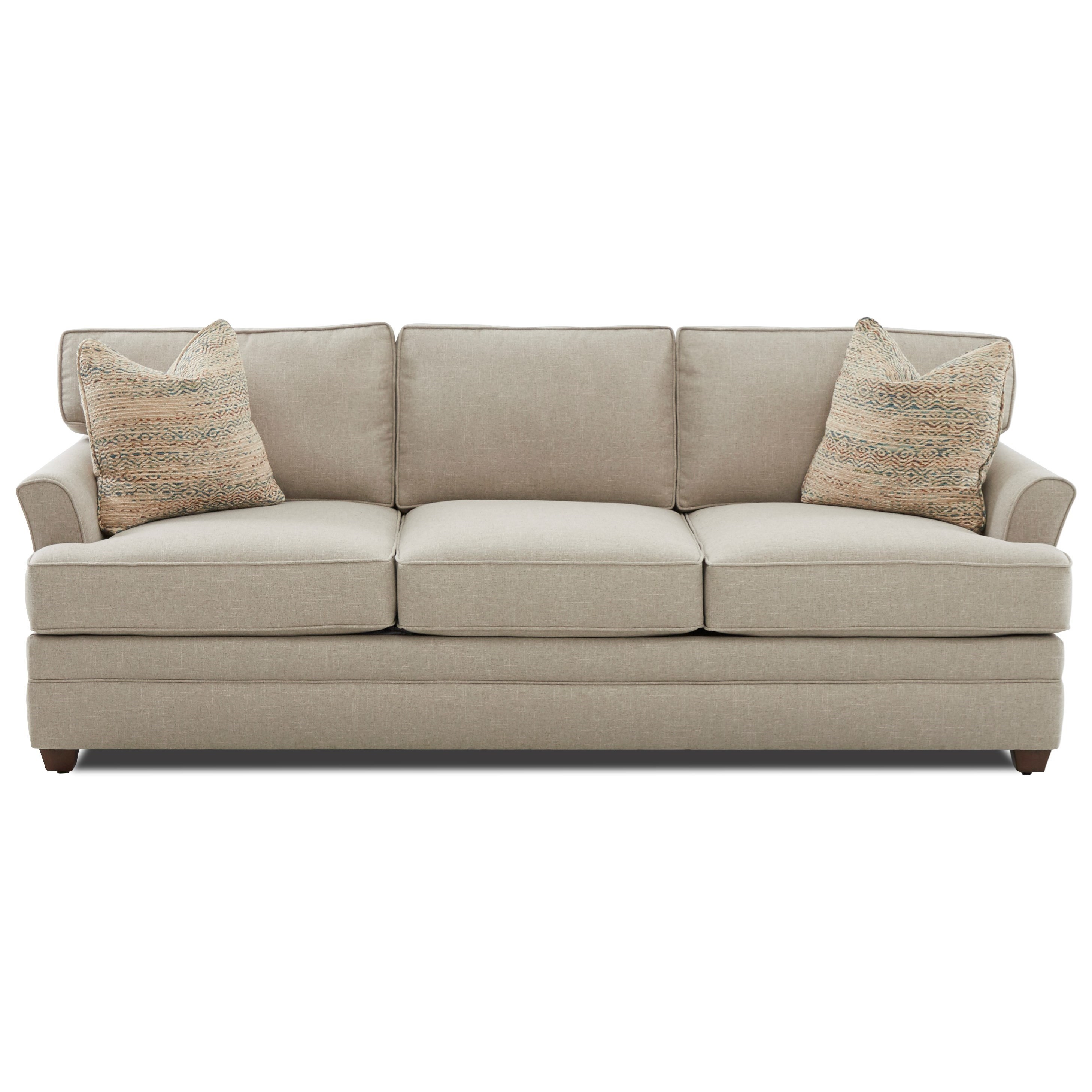 Transitional Flared Arm Sofa with Enso Memory Foam Mattress
