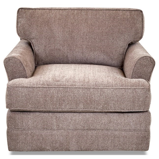 Transitional Swivel Chair with Flared Arms