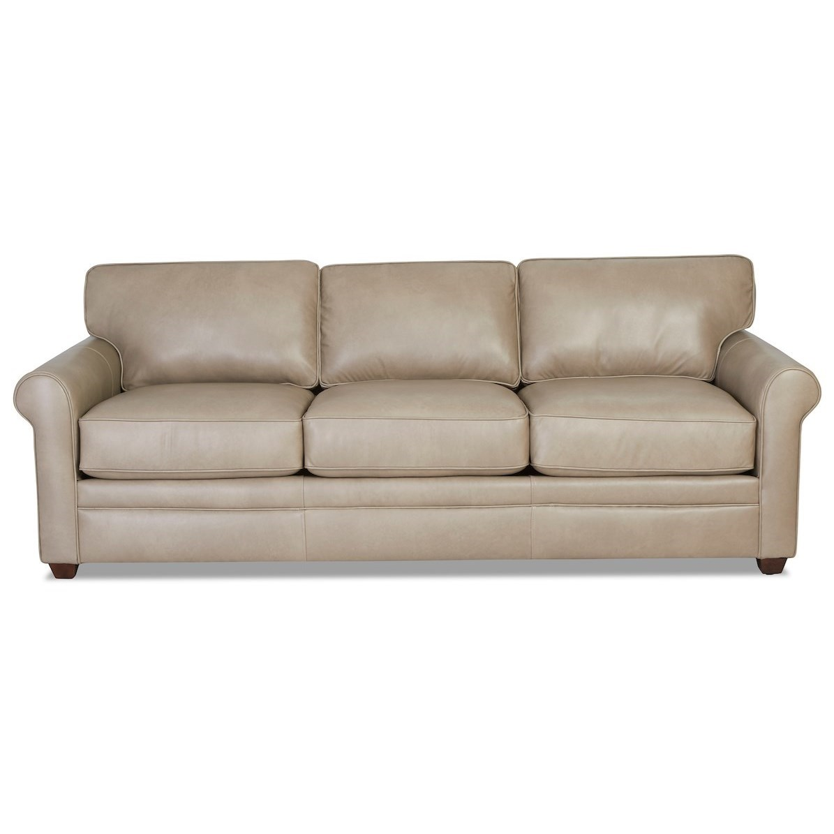 Casual Leather Sofa with Rolled Arms
