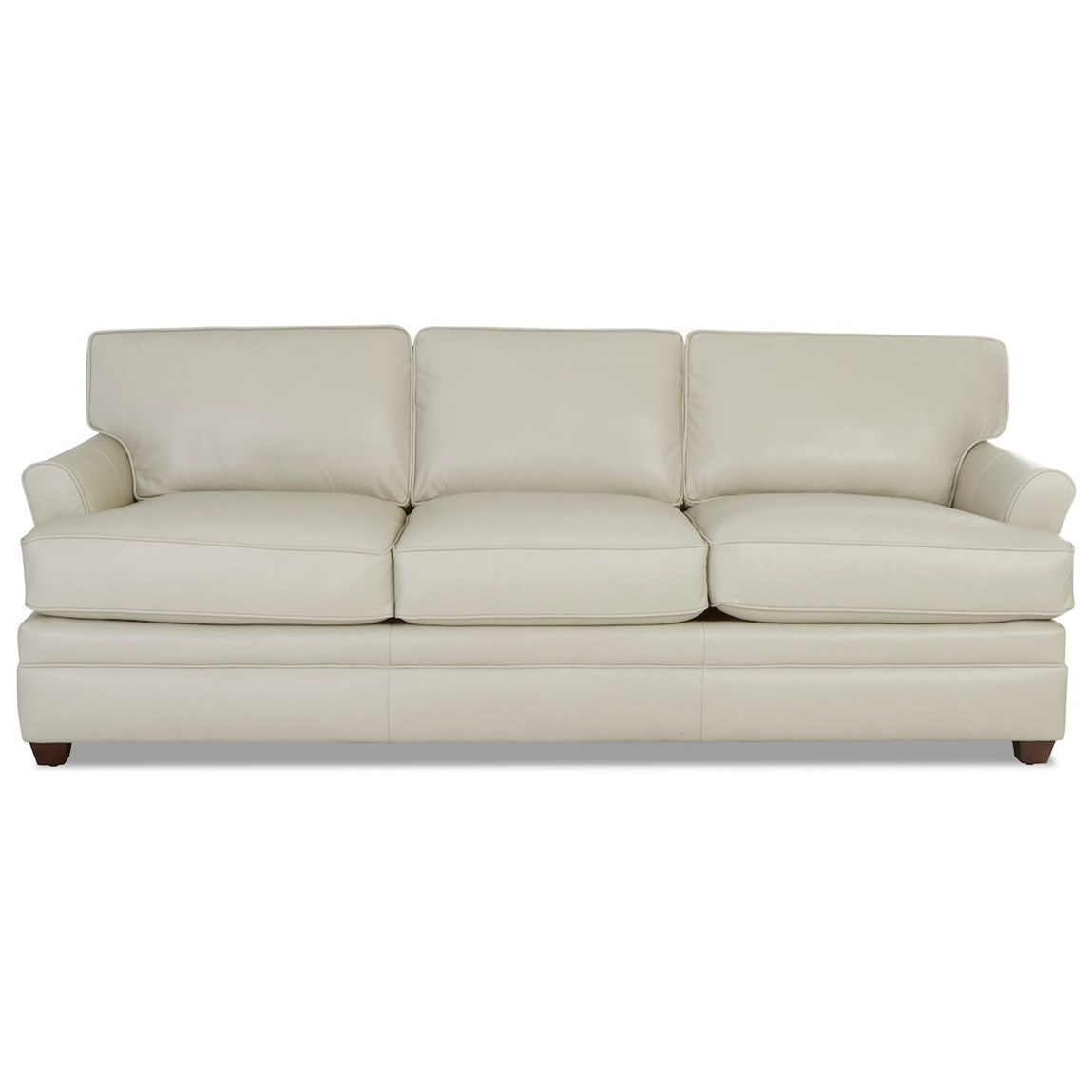 Transitional Leather Sofa with Flared Arms
